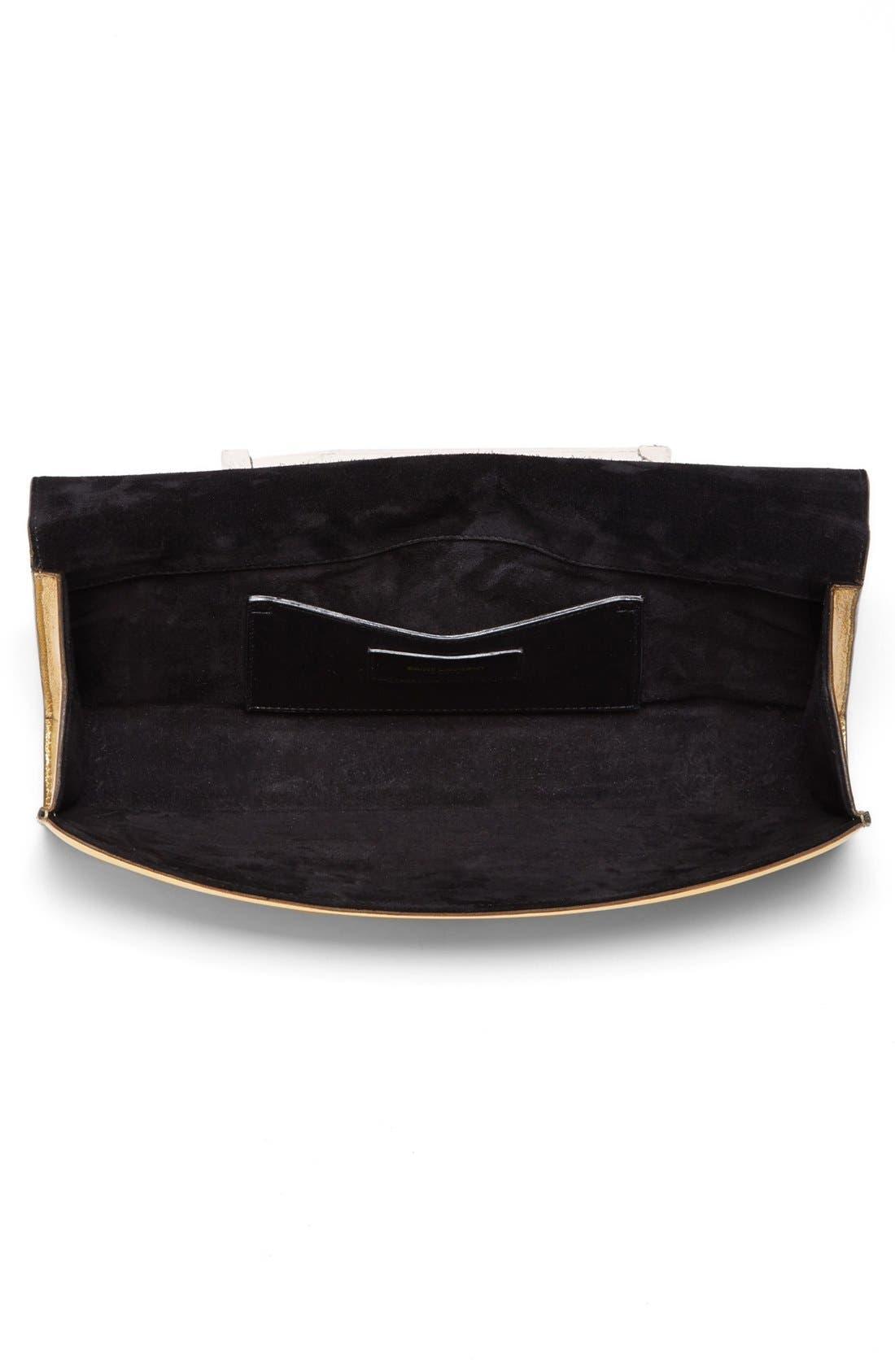 'Cassandre' Leather Clutch,                             Alternate thumbnail 3, color,                             Vermeil Oro