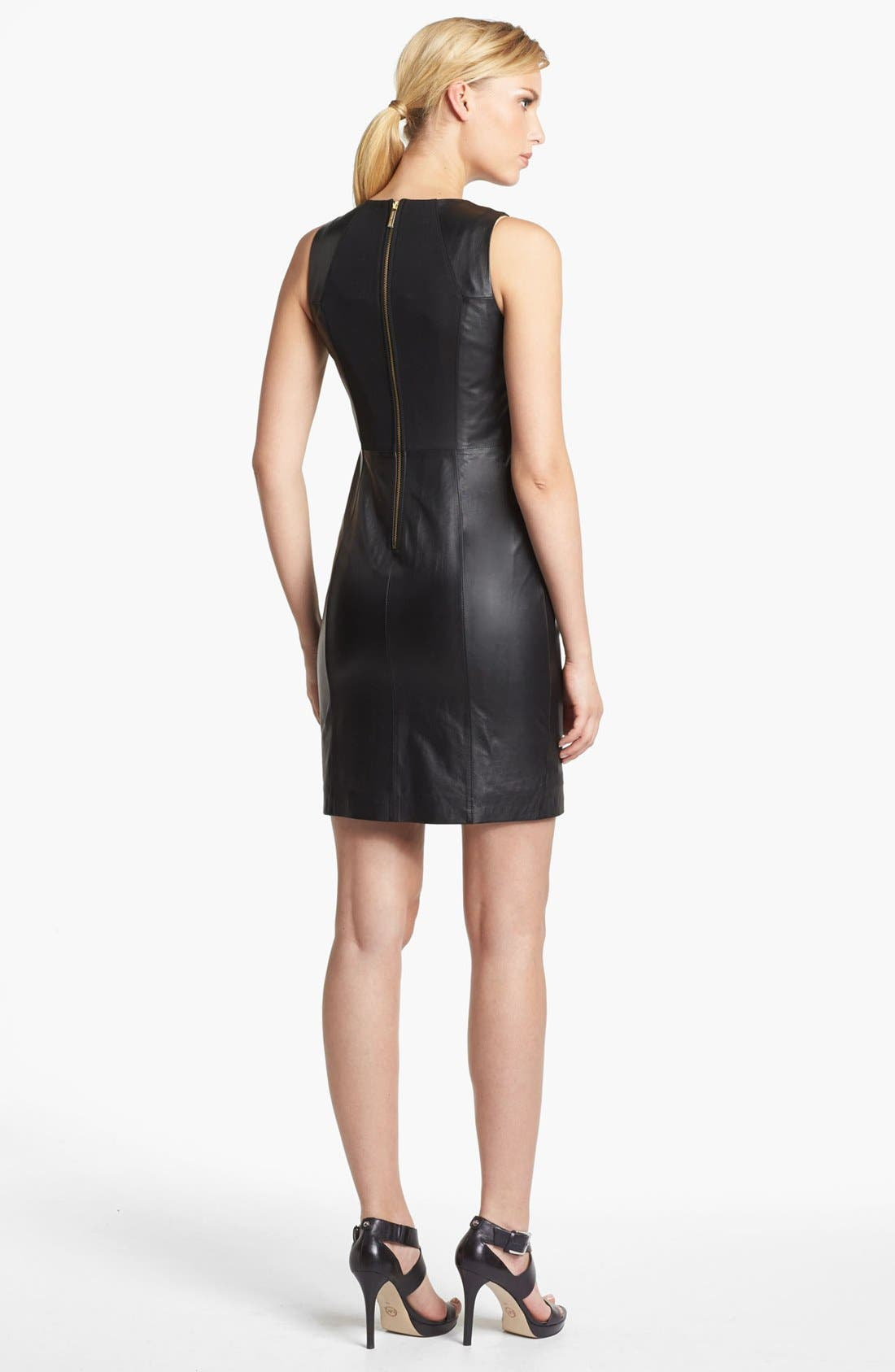 Alternate Image 2  - MICHAEL Michael Kors Sleeveless Leather Sheath Dress