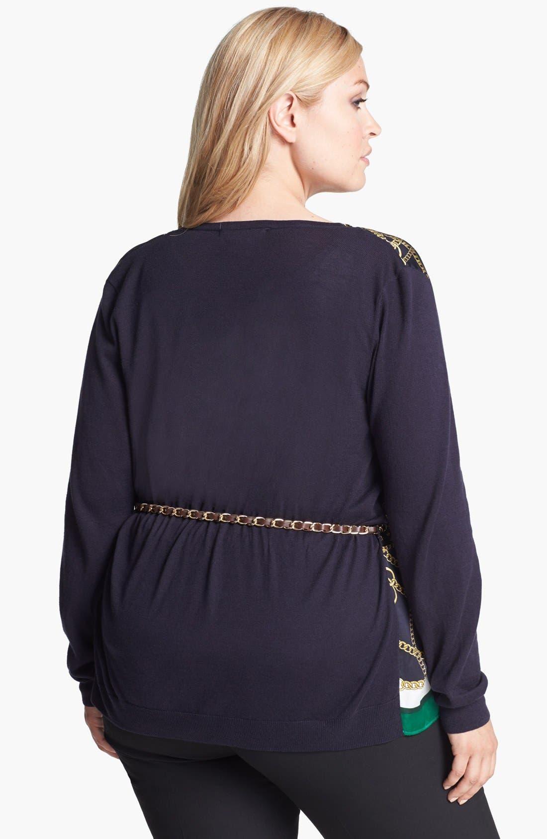 Alternate Image 2  - MICHAEL Michael Kors Woven Front Cardigan (Plus Size)