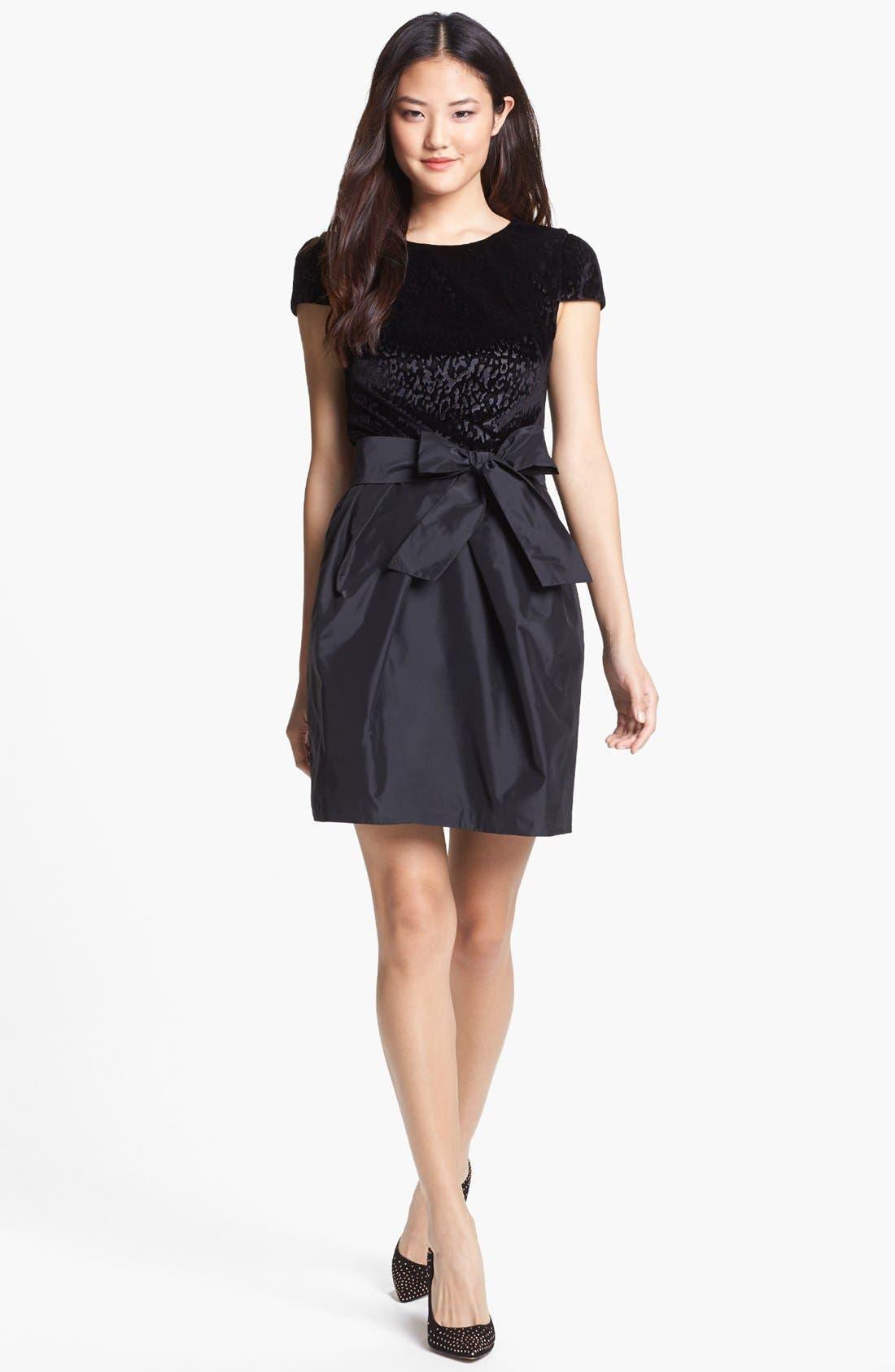Main Image - Ivy & Blu Mixed Media Fit & Flare Dress