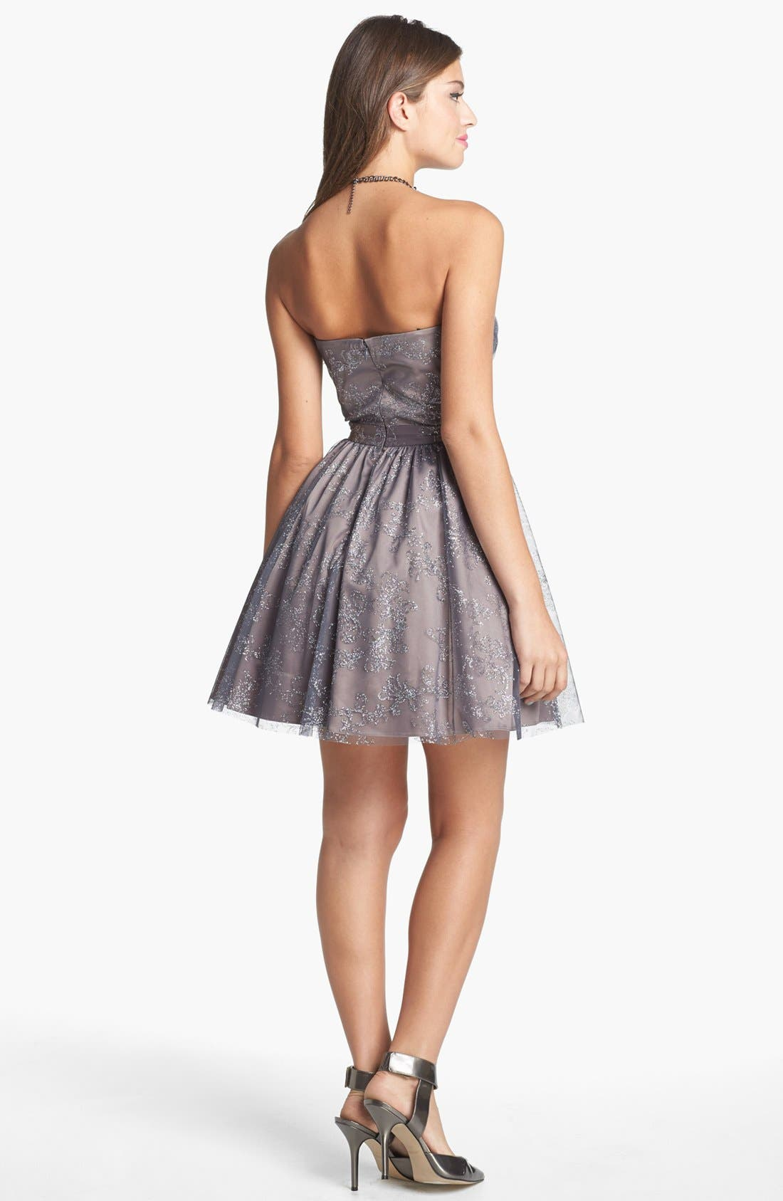 Metallic Mesh Fit & Flare Dress,                             Alternate thumbnail 2, color,                             Taupe