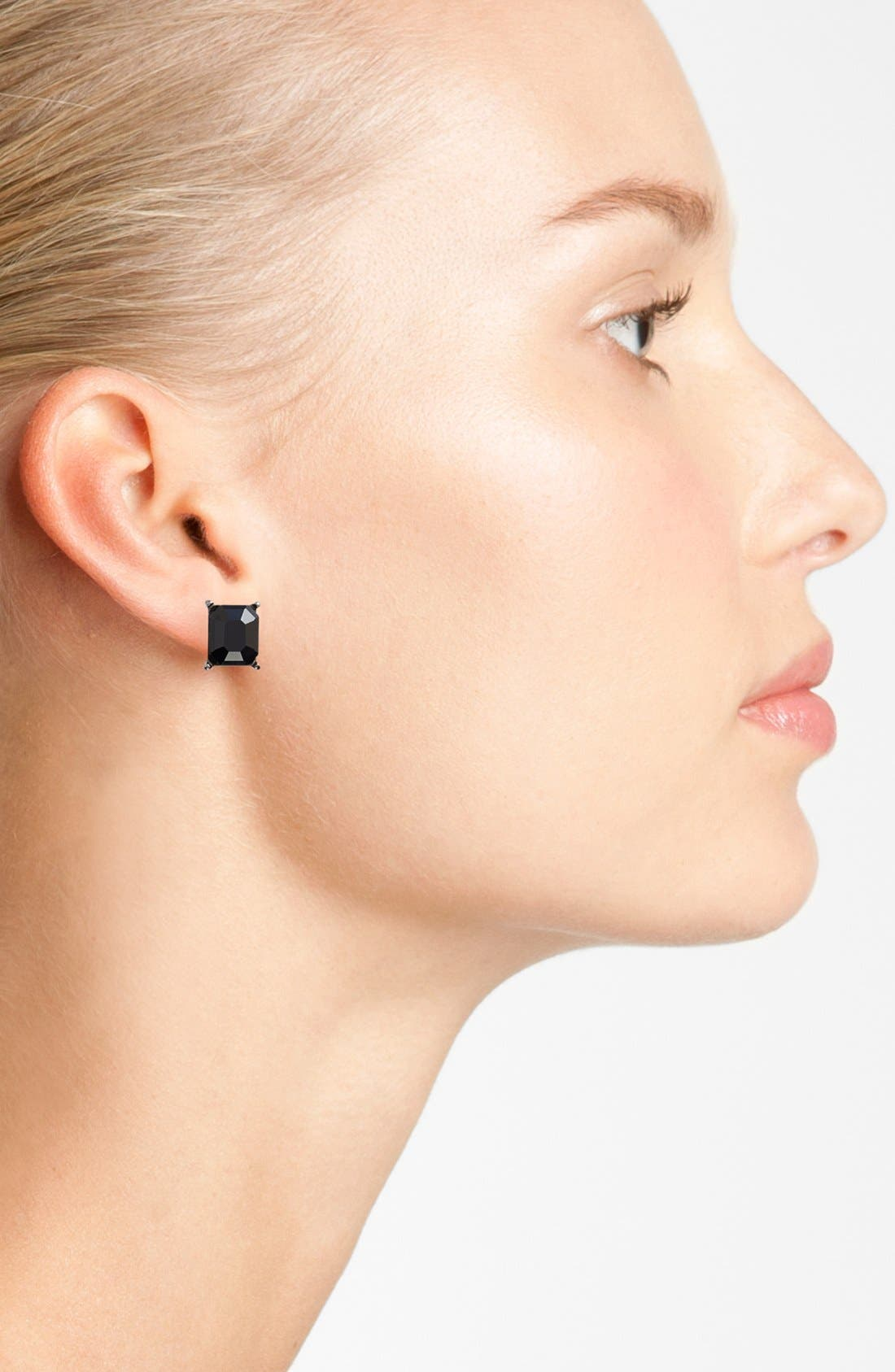 Alternate Image 2  - Nordstrom Rectangular Stone Stud Earrings