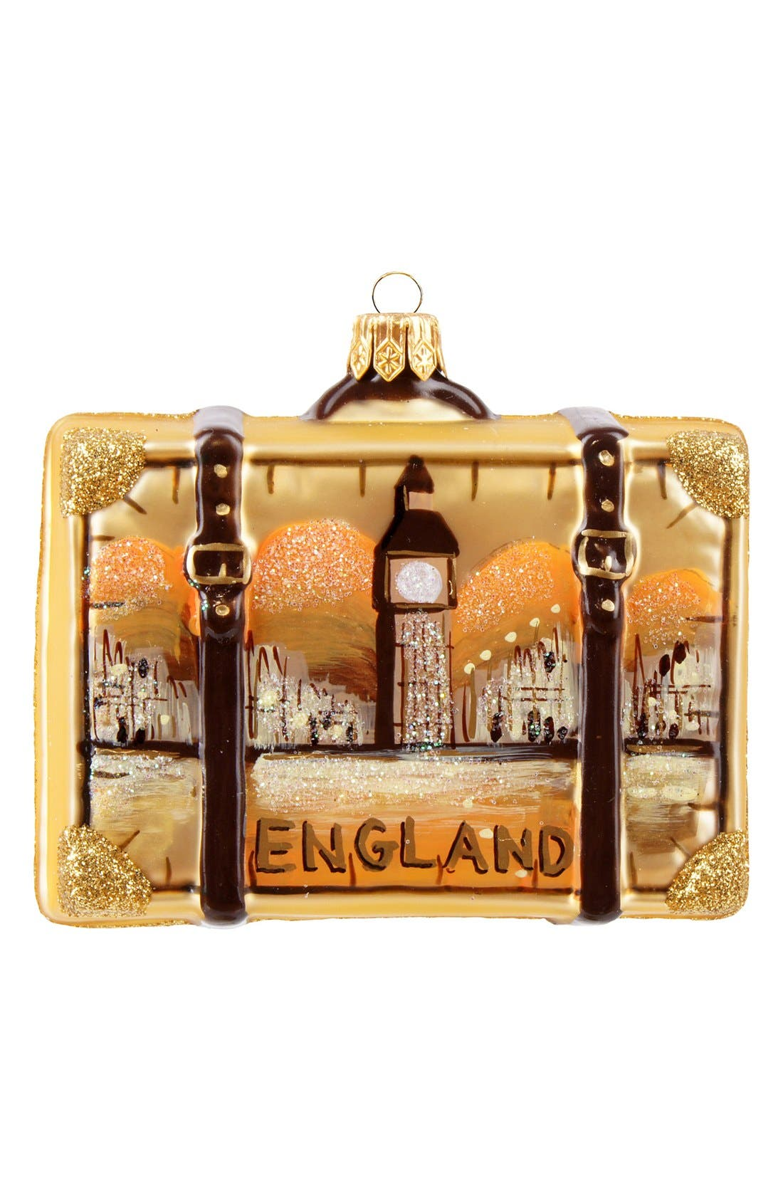 Alternate Image 1 Selected - Nordstrom at Home 'England' Glass Suitcase Ornament