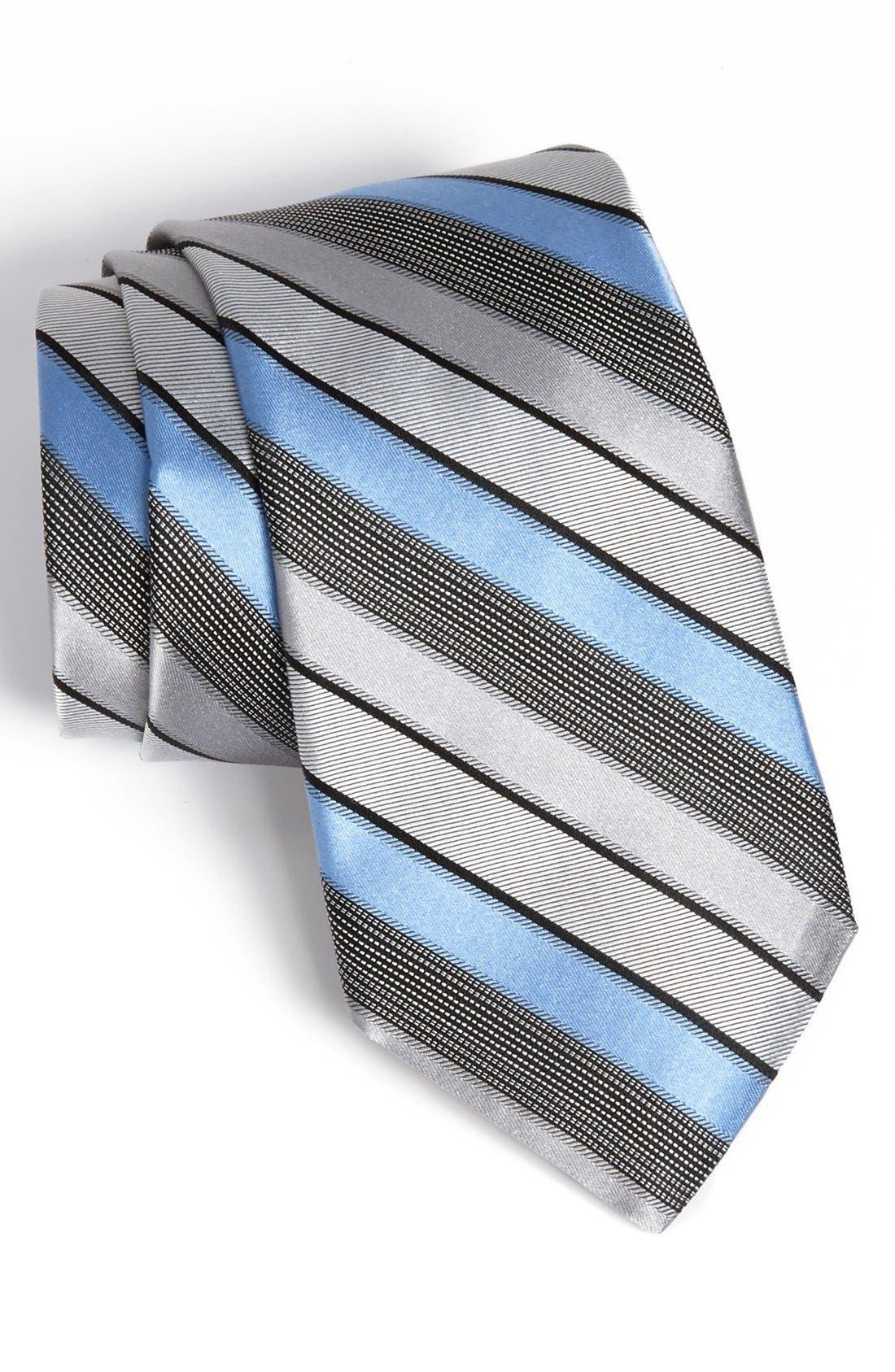 Woven Silk Tie,                         Main,                         color, Silver