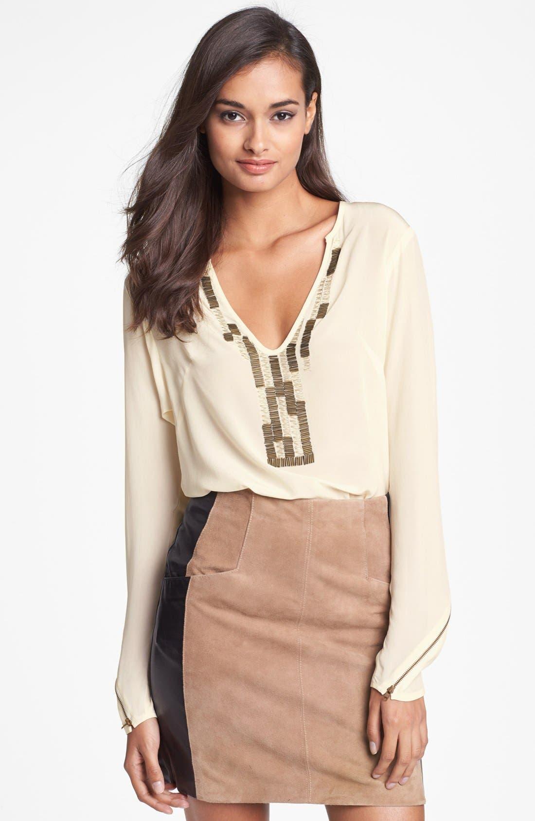 Main Image - Nanette Lepore Embellished Silk Top