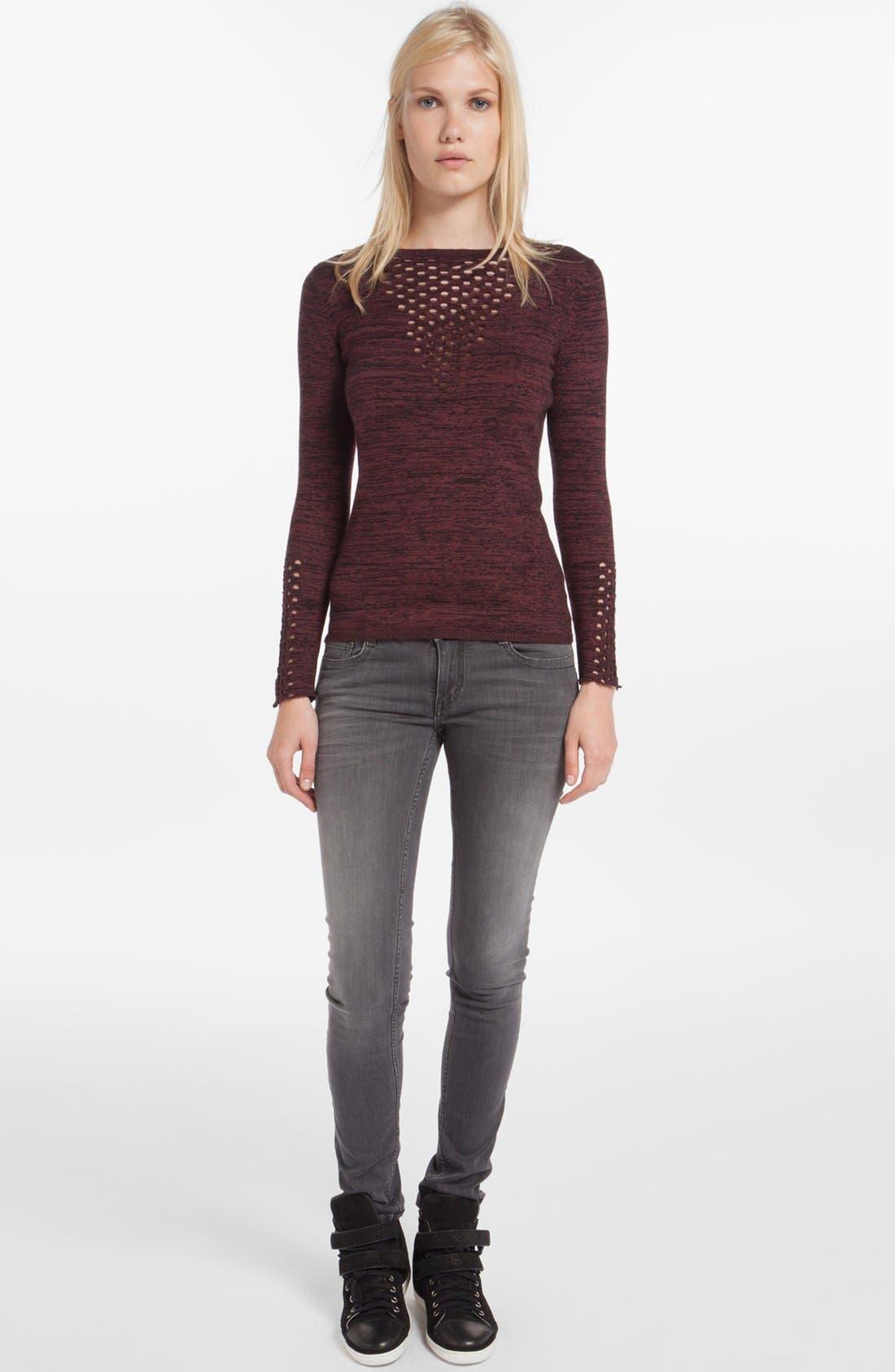 Alternate Image 1 Selected - maje 'Dramaturg' Perforated Sweater