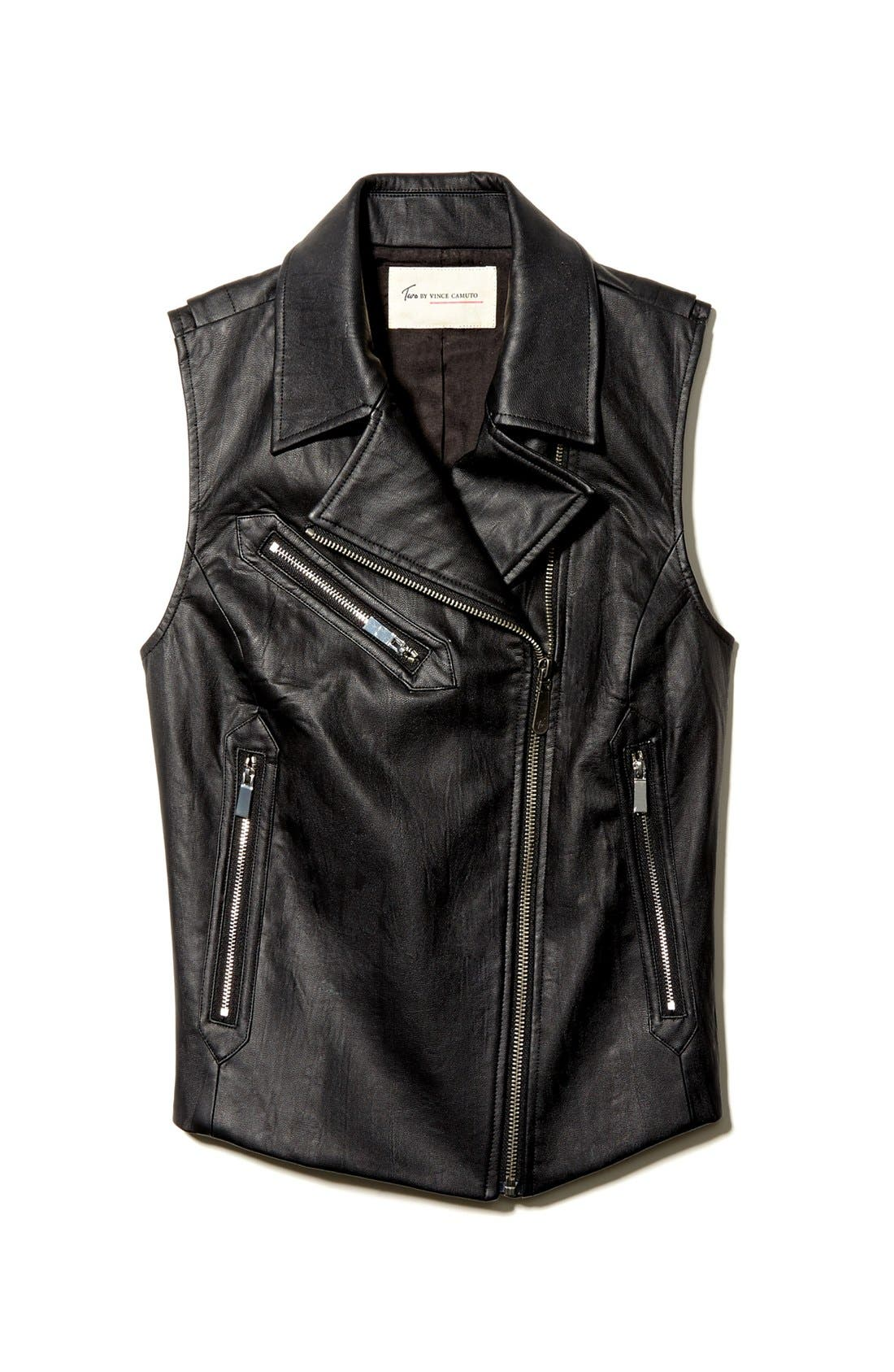 Alternate Image 4  - Two by Vince Camuto Faux Leather Moto Vest
