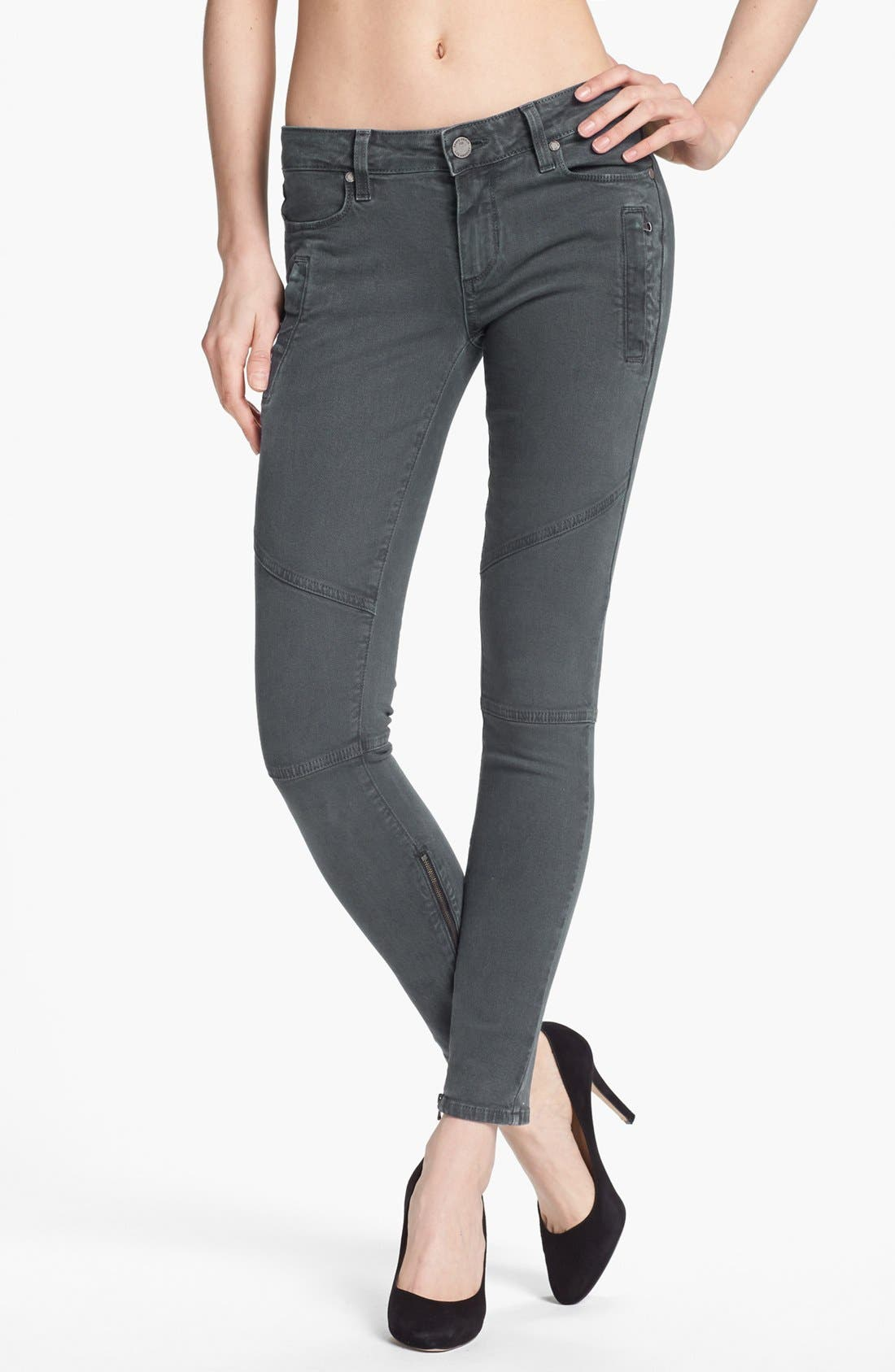 Alternate Image 1 Selected - Paige Denim 'Marley' Seam Detail Skinny Jeans (Black Current)