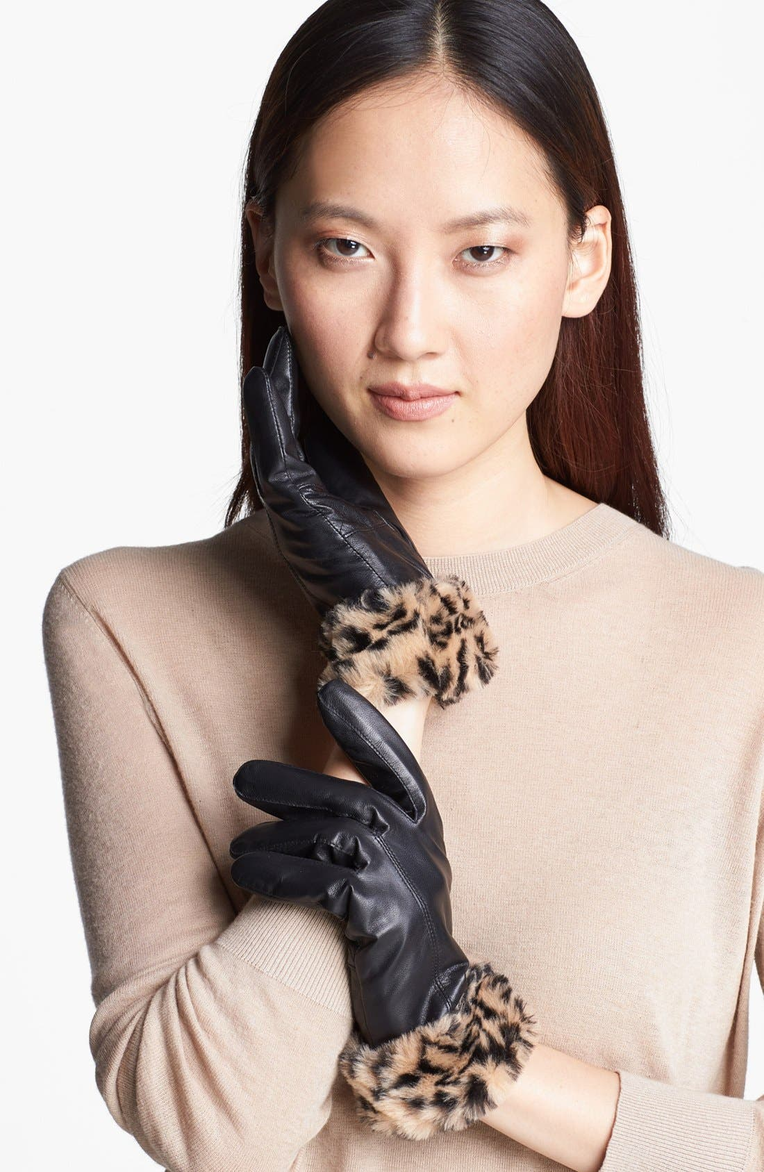 Alternate Image 1 Selected - Surell Leather Gloves with Faux Fur Cuffs