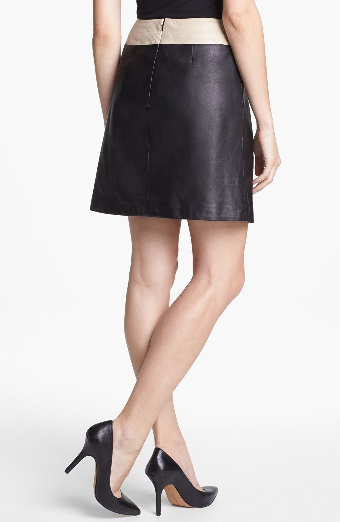 Alternate Image 2  - Halogen® Colorblock Leather Faux Wrap Skirt