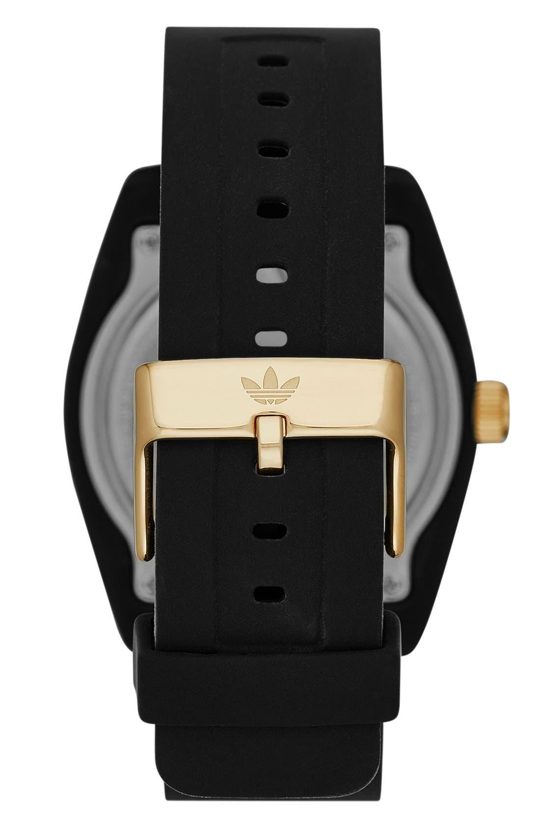 'Santiago' Polyurethane Strap Watch, 42mm,                             Alternate thumbnail 2, color,                             Black/ Harlem Gold