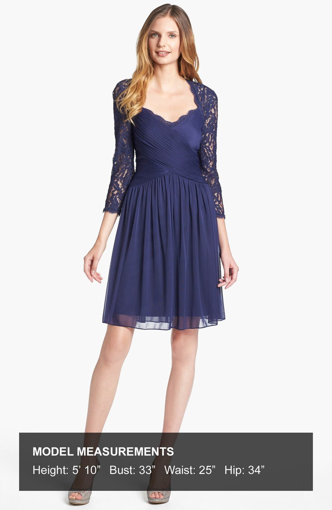 Alternate Image 5  - Adrianna Papell Lace Sleeve Mesh Fit & Flare Dress