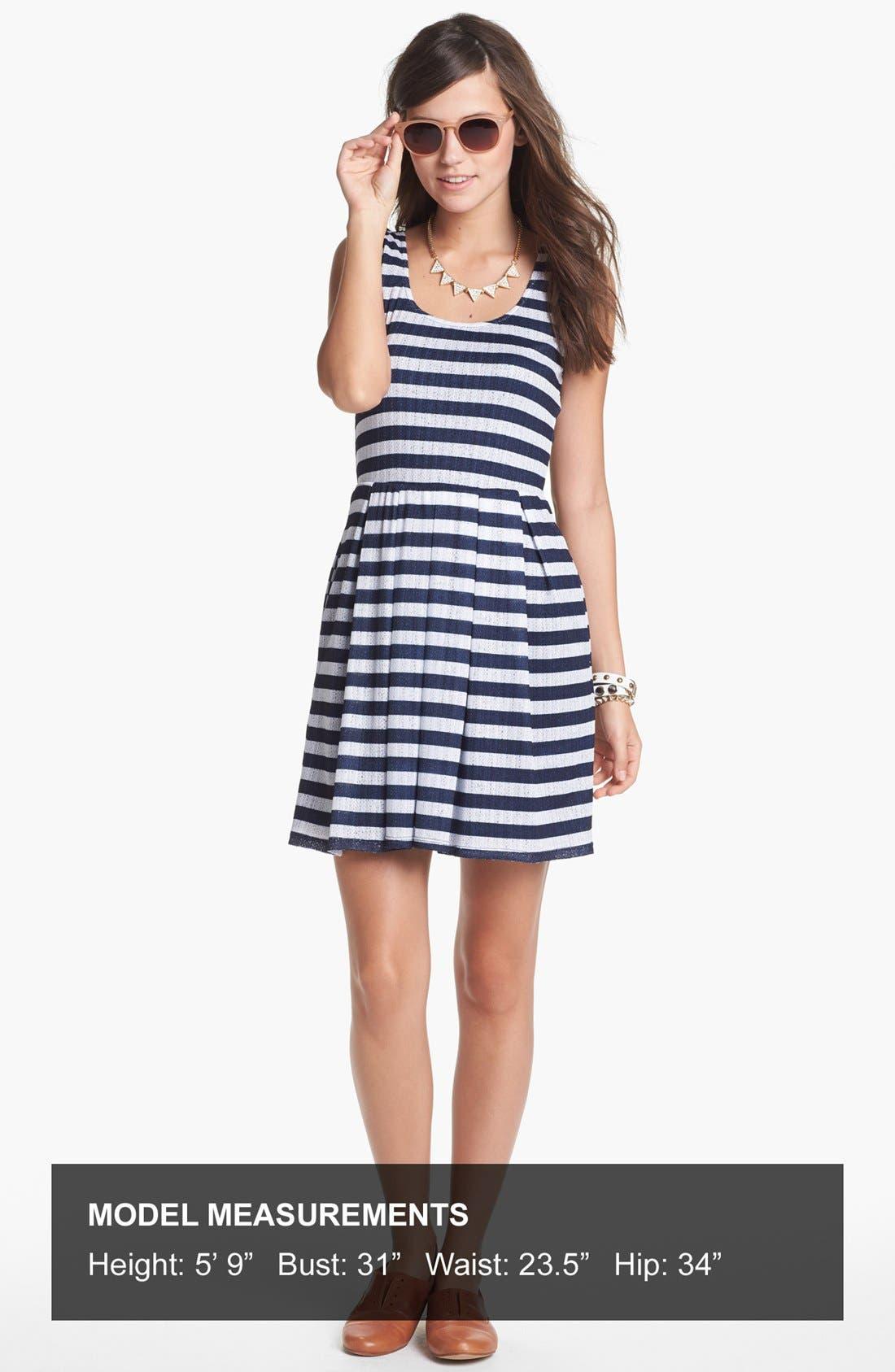 Alternate Image 4  - Mimi Chica Pointelle Fit & Flare Dress (Juniors)