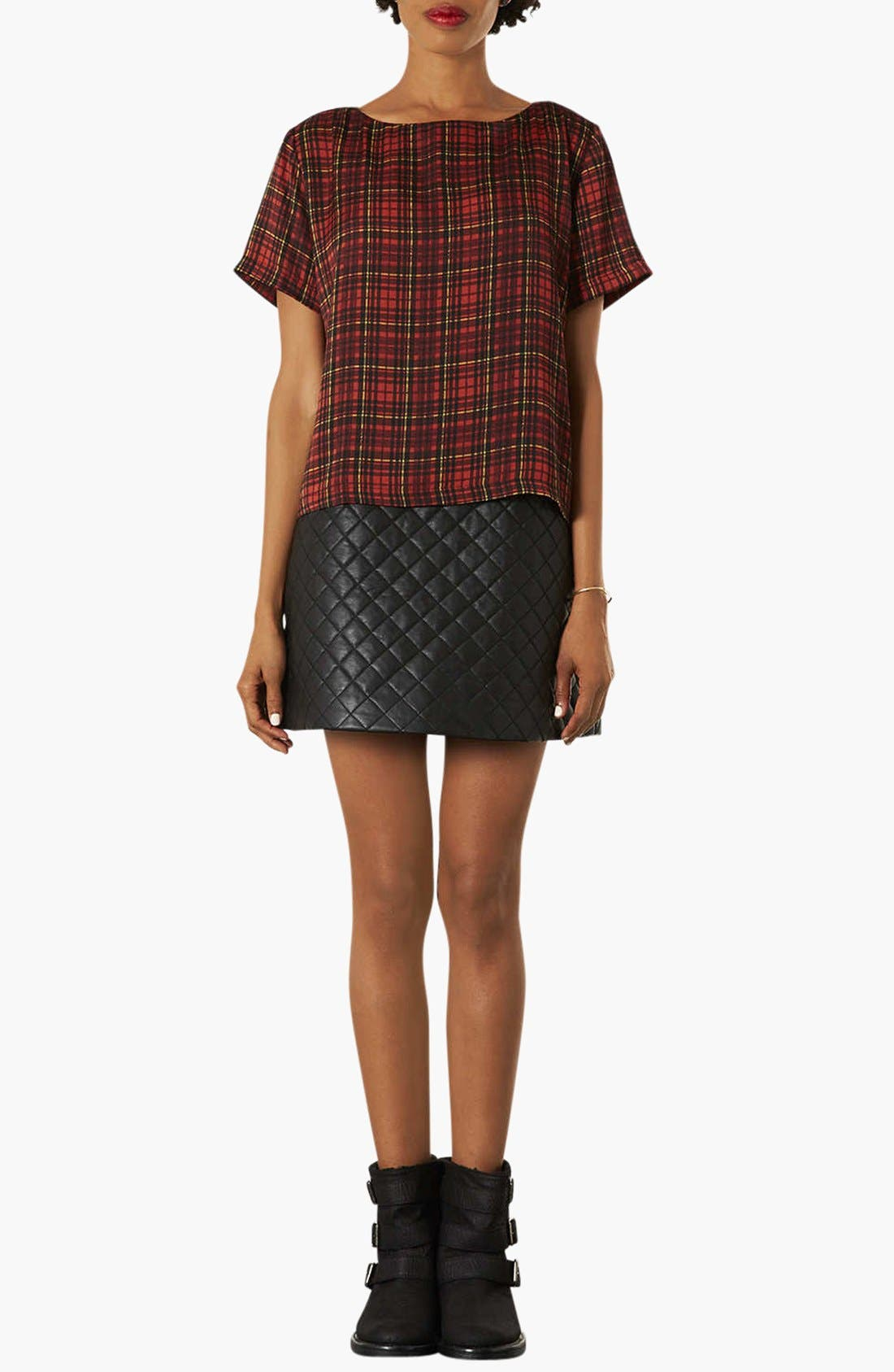 Alternate Image 3  - Topshop Quilted A-Line Skirt
