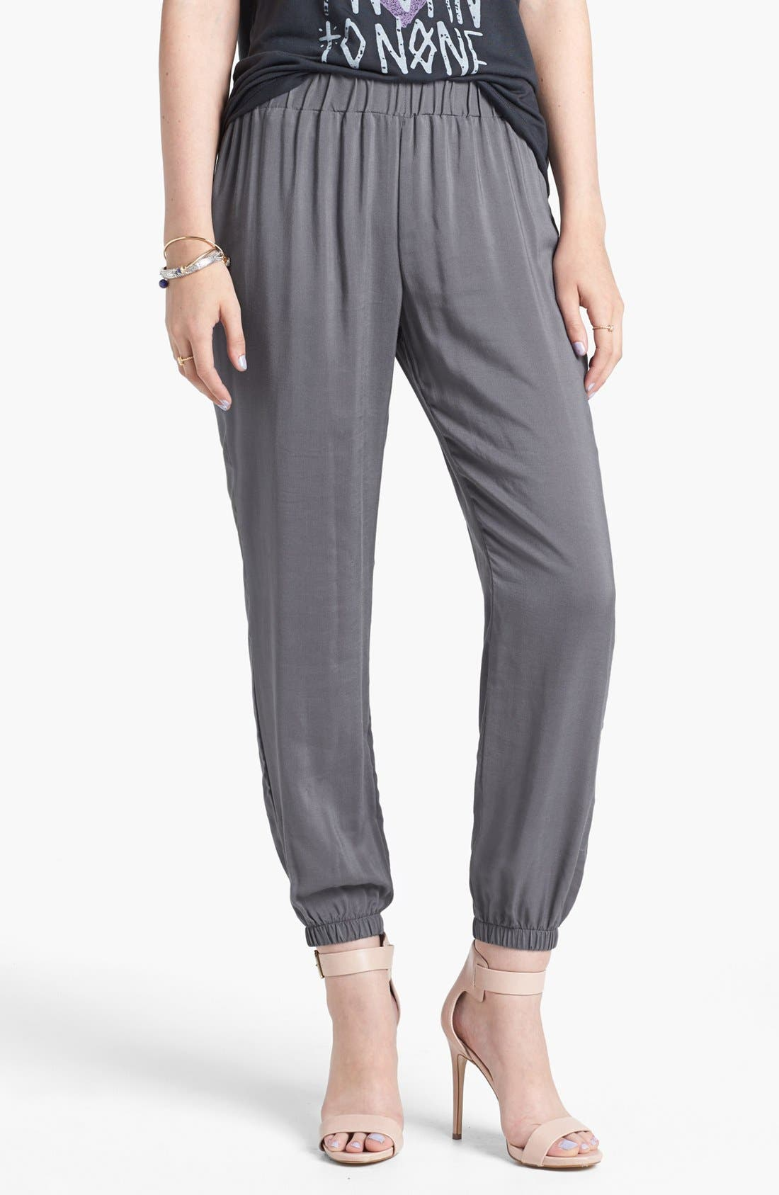 Alternate Image 1 Selected - Lily White Woven Track Pants (Juniors) (Online Only)