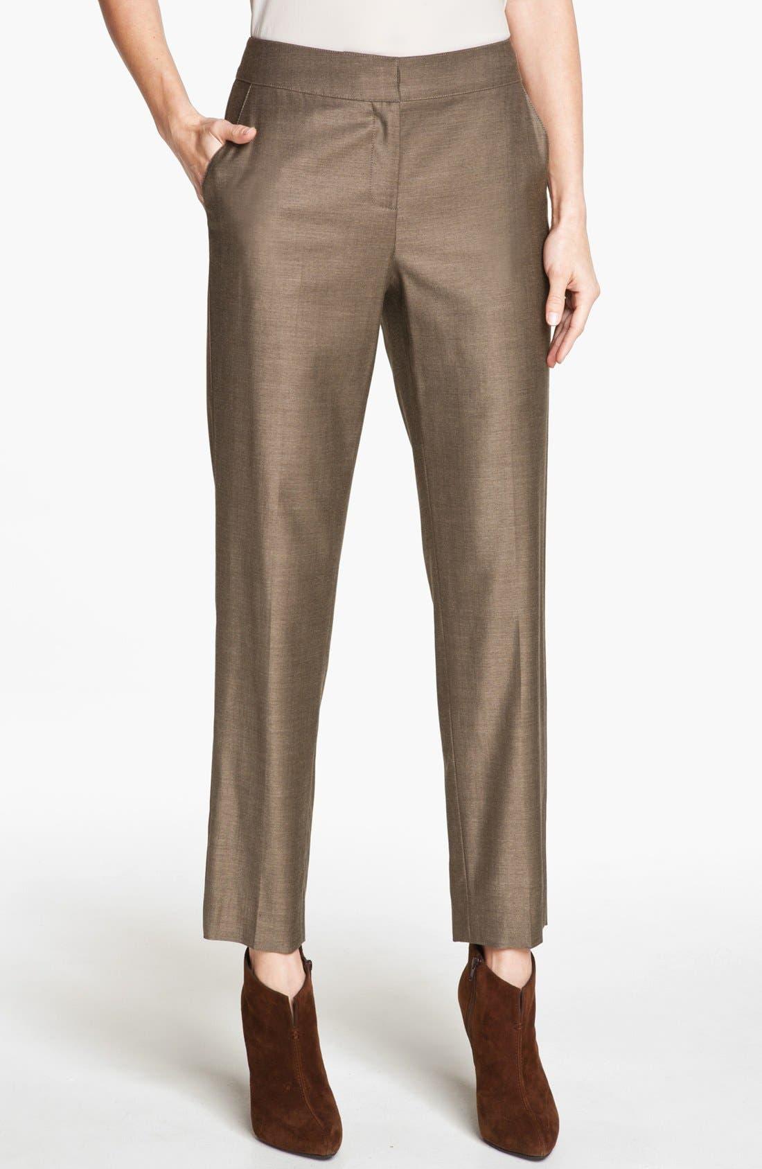 Main Image - St. John Collection 'Emma' Shimmer Twill Crop Pants