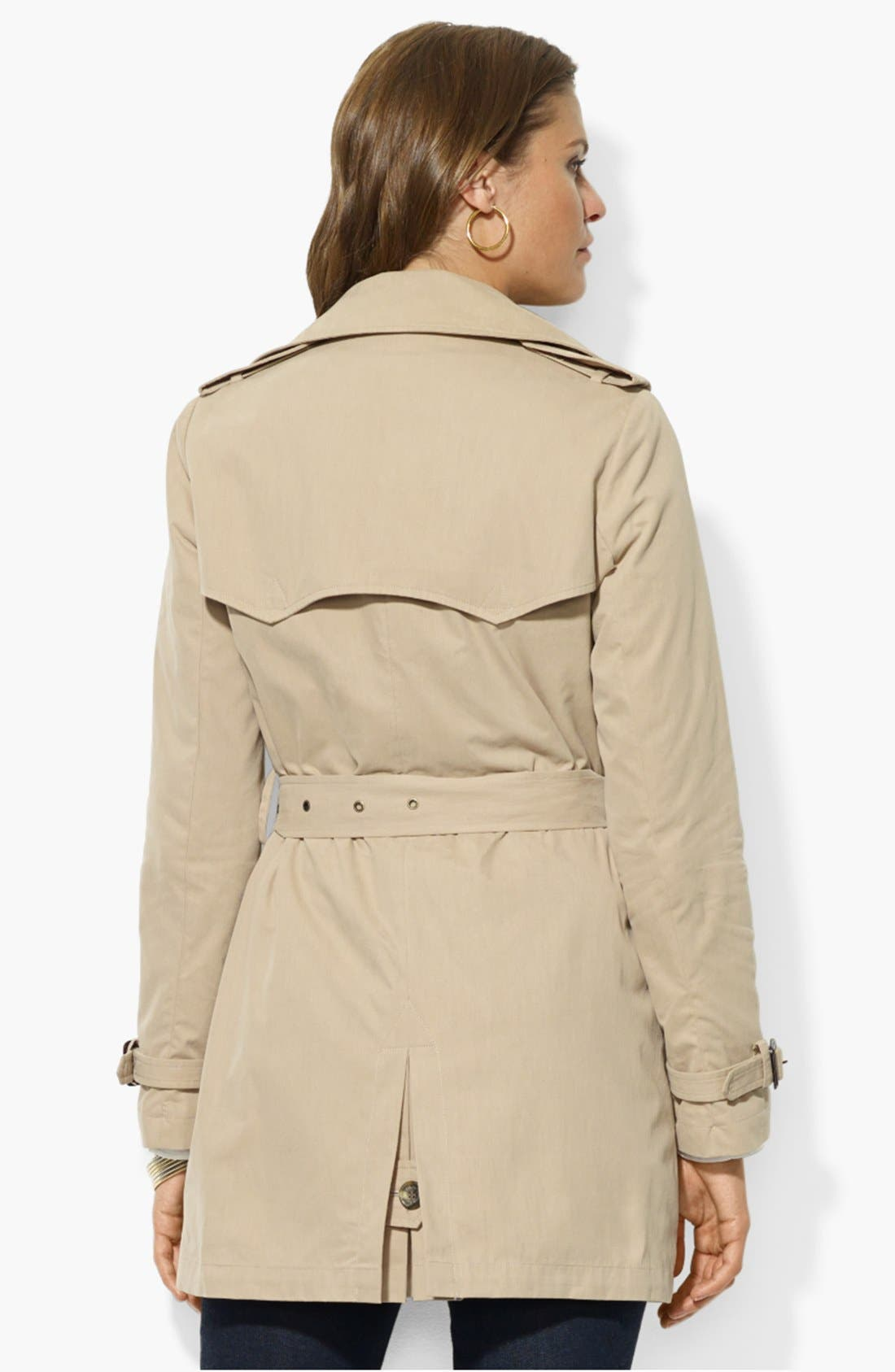 Double Breasted Trench Coat,                             Alternate thumbnail 2, color,                             Racing Khaki