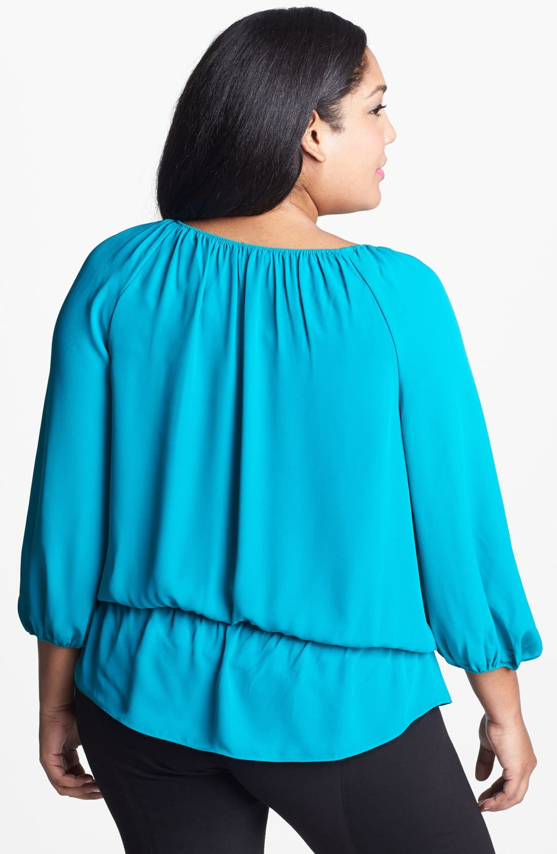Alternate Image 2  - Vince Camuto Peasant Top (Plus Size)