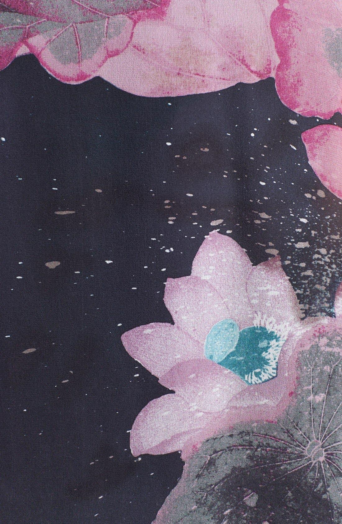 Alternate Image 3  - Citron Print Drape Front Silk Jacket (Plus Size)