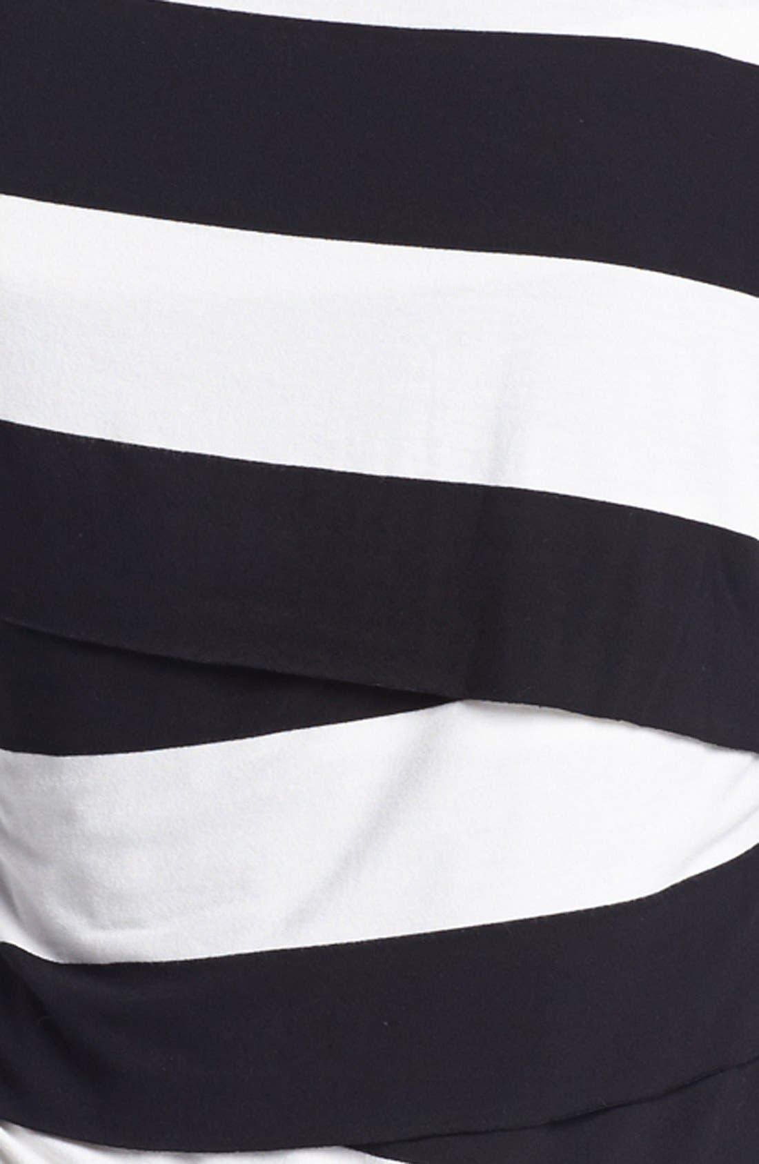 Alternate Image 3  - Vince Camuto Asymmetrical Tiered Stripe Tee (Petite)