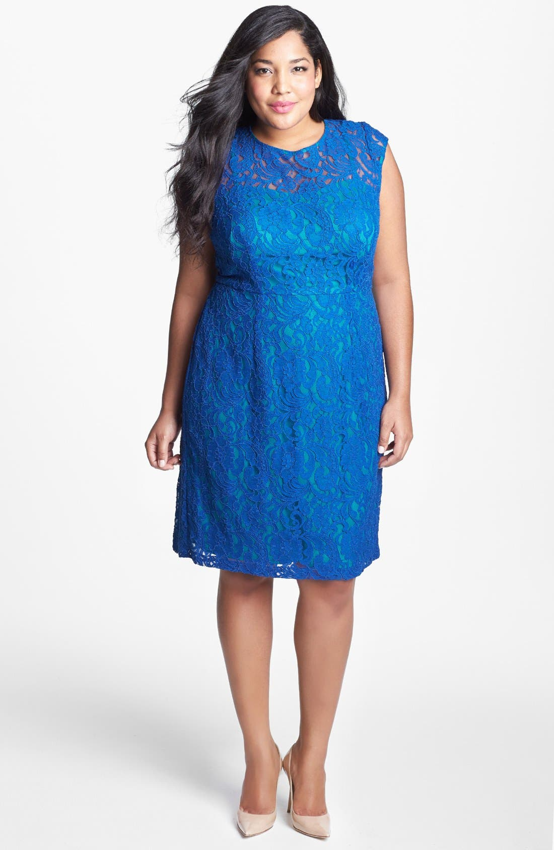 Main Image - Ivy & Blu Lace Fit & Flare Dress (Plus Size)