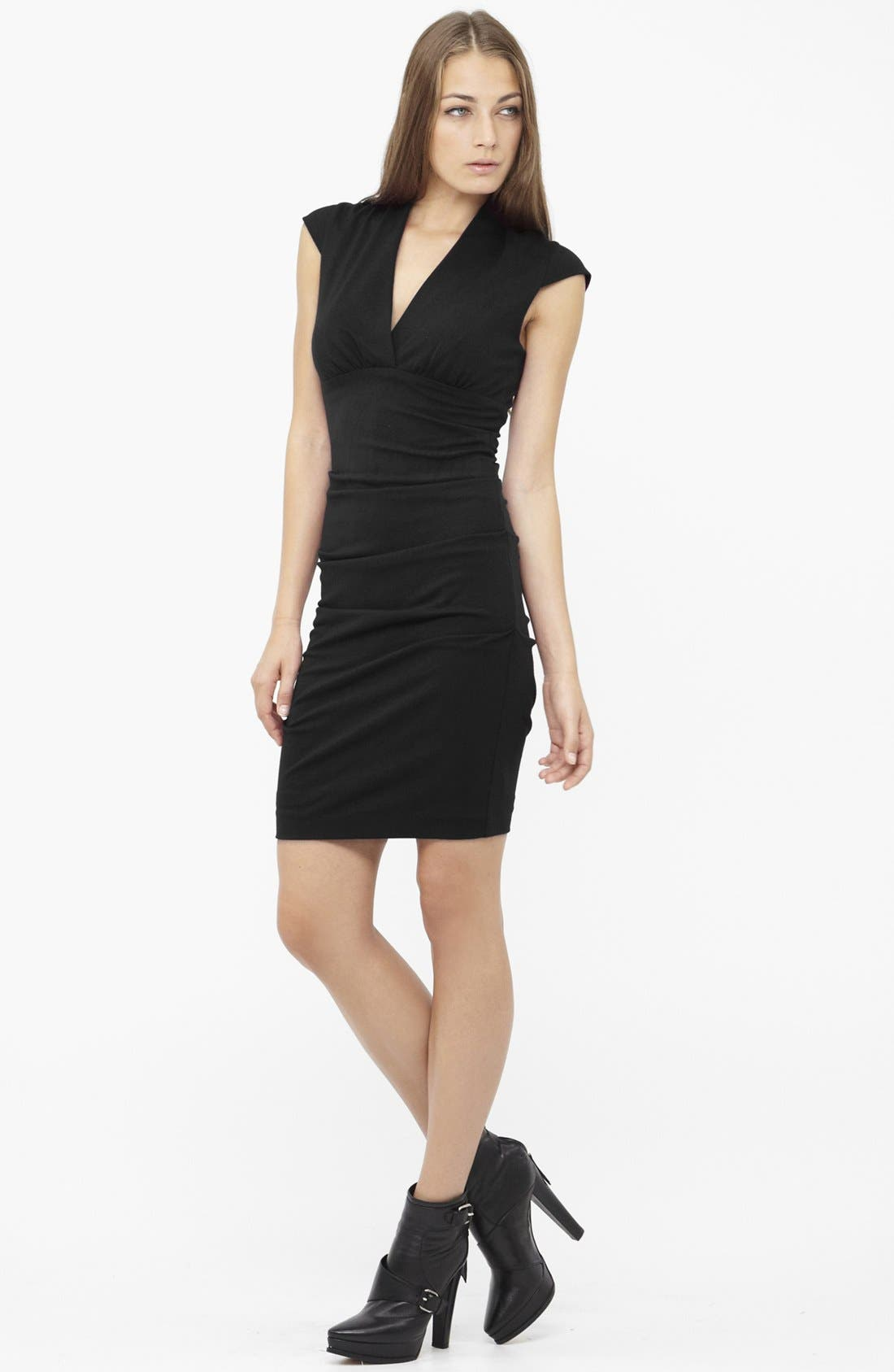 Alternate Image 1 Selected - Nicole Miller Ruched Cap Sleeve Knit Sheath Dress