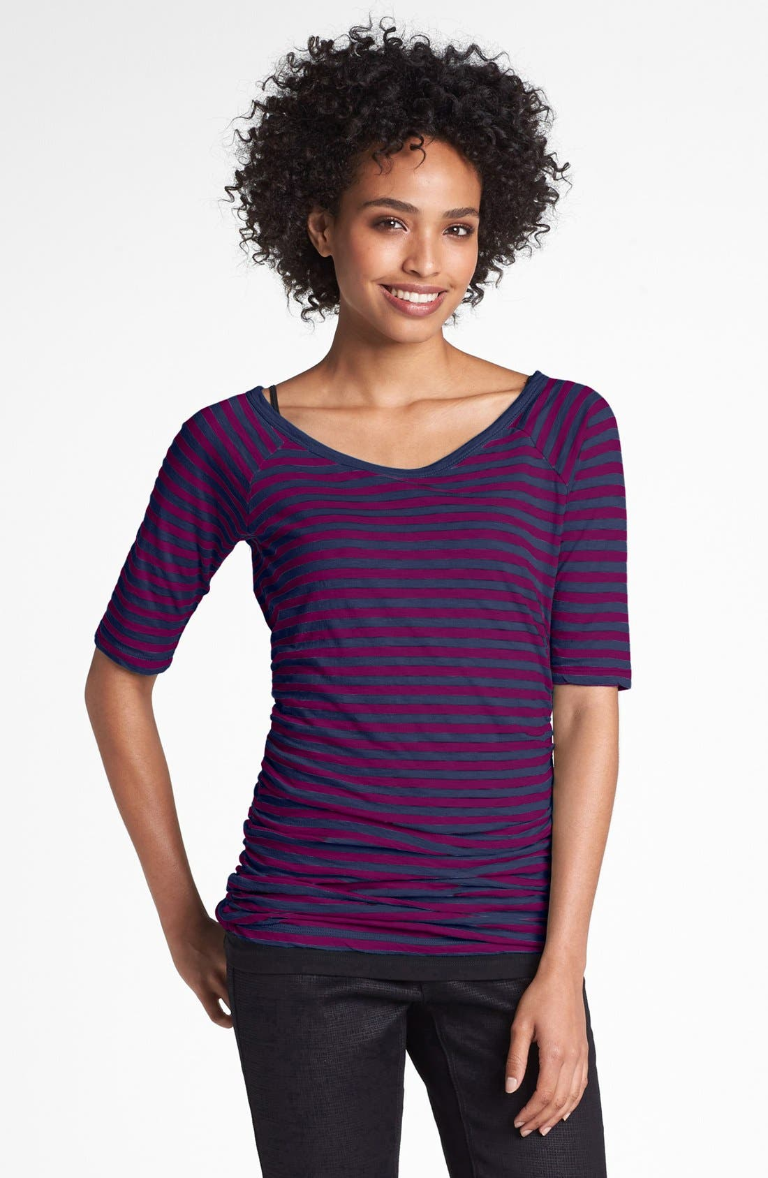 Main Image - Caslon® Elbow Sleeve Side Ruched Tee (Petite)