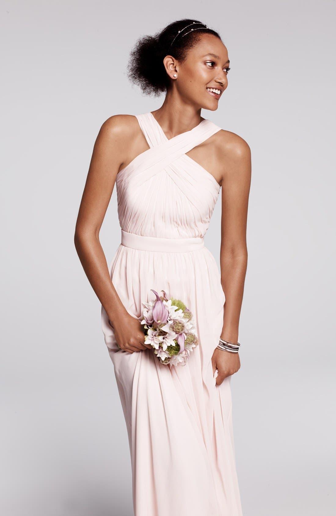 Alternate Image 6  - Monique Lhuillier Bridesmaids Crisscross Chiffon Gown (Nordstrom Exclusive)