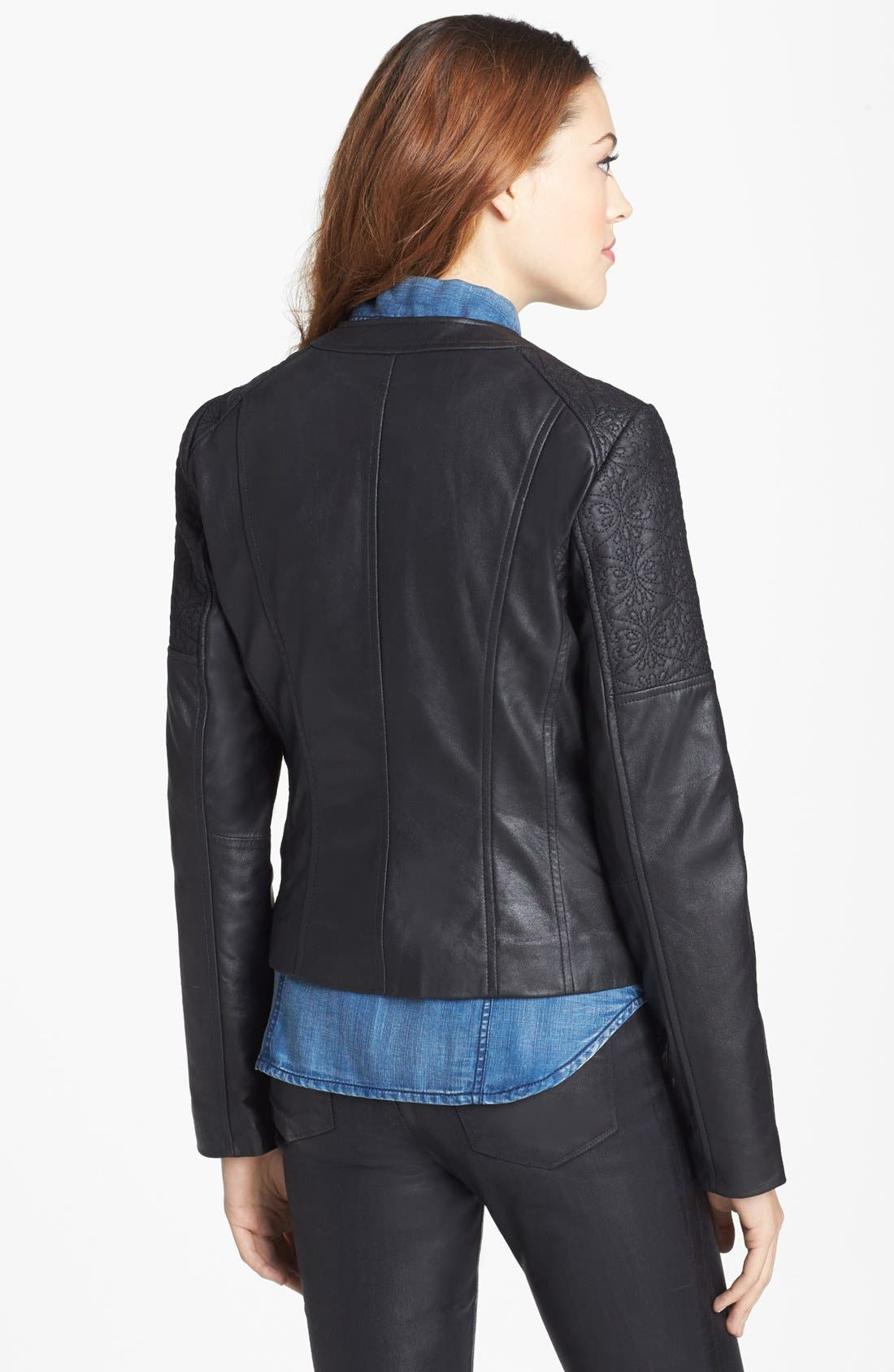 Alternate Image 2  - Bernardo Embroidered Leather Scuba Jacket (Regular & Petite)