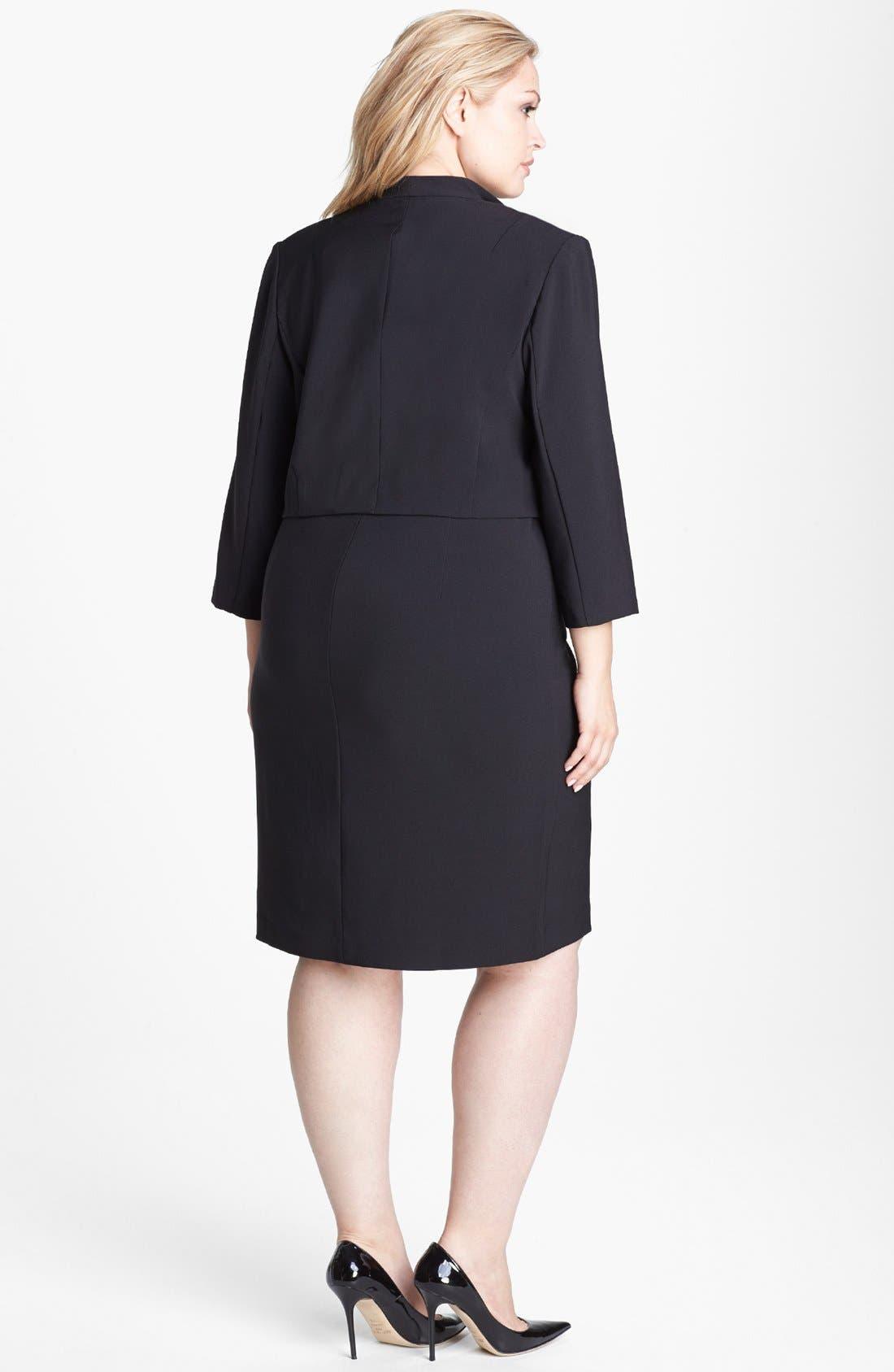 Alternate Image 2  - London Times Faux Leather Trim Crepe Dress & Jacket (Plus Size)