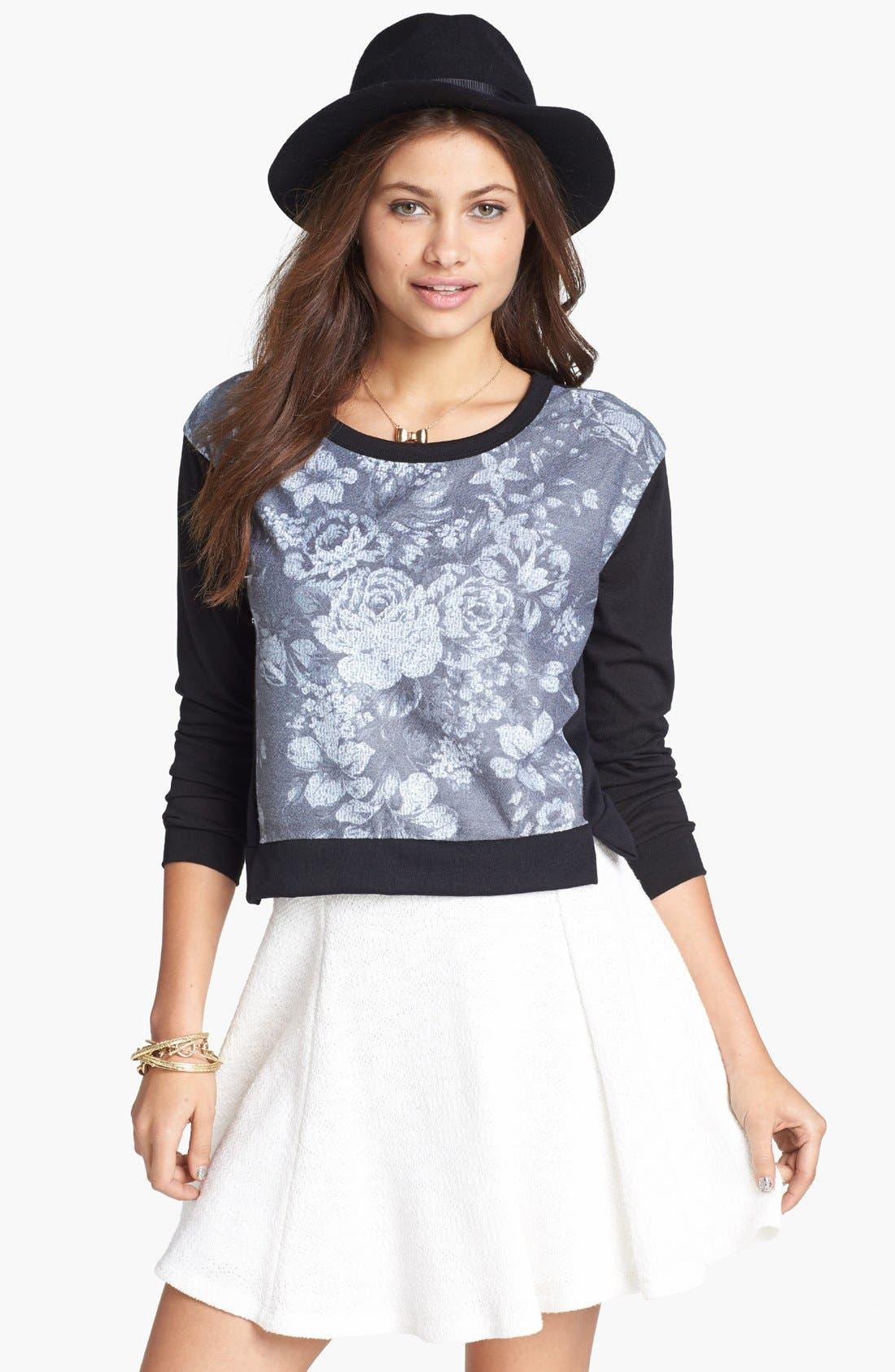 Alternate Image 1 Selected - h.i.p. Floral Print Sweatshirt (Juniors)