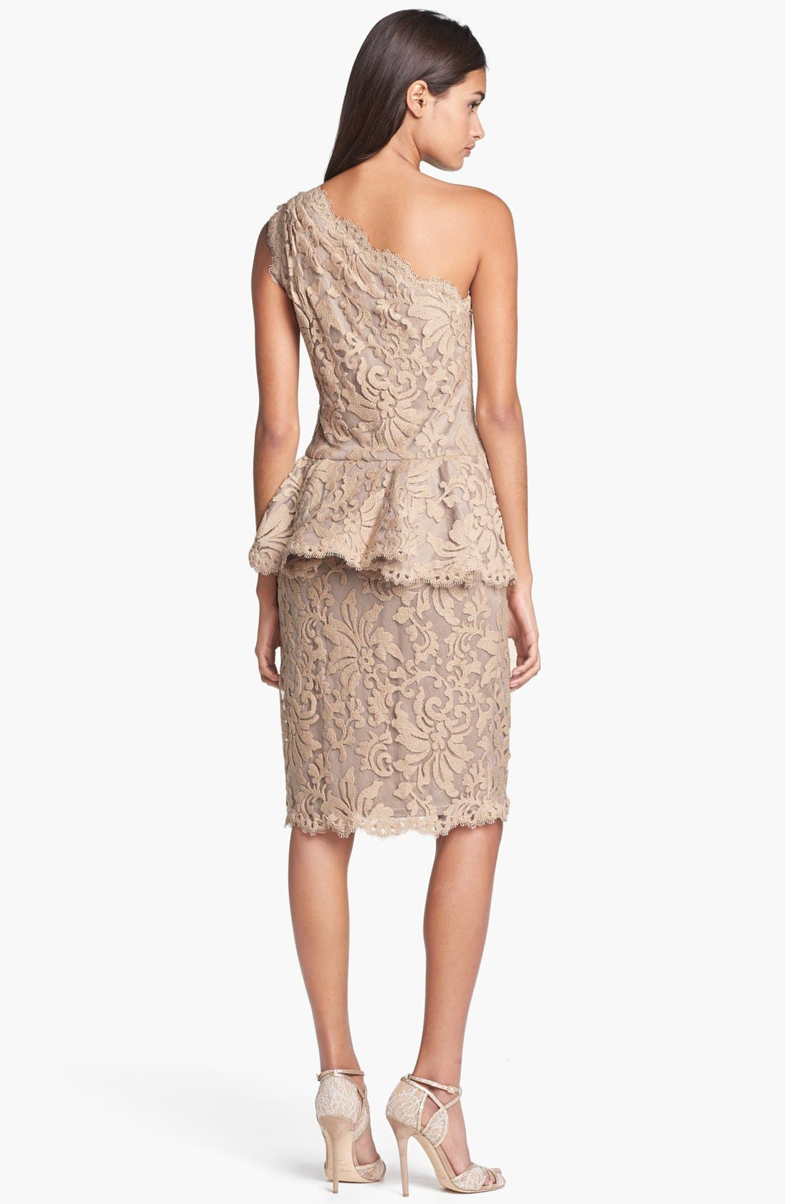 Alternate Image 2  - Tadashi Shoji One Shoulder Lace Peplum Dress