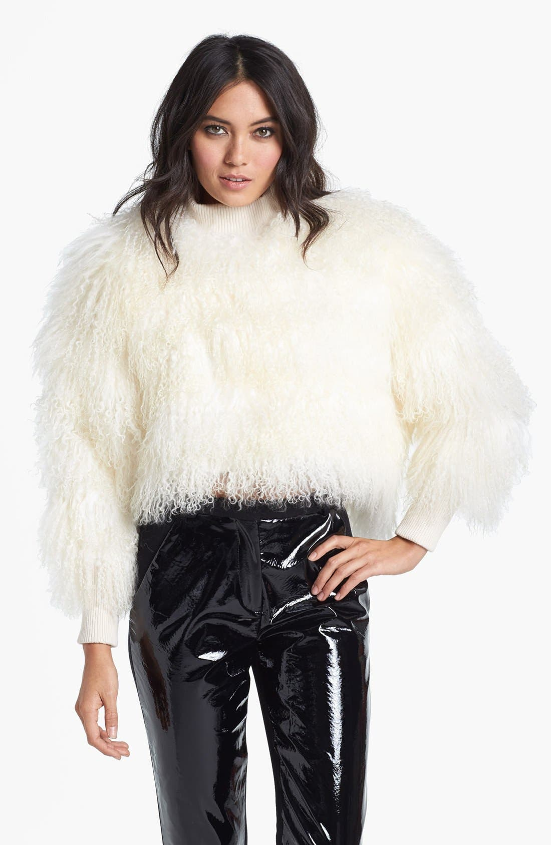 Main Image - Topshop Unique Genuine Lamb Shearling Sweater