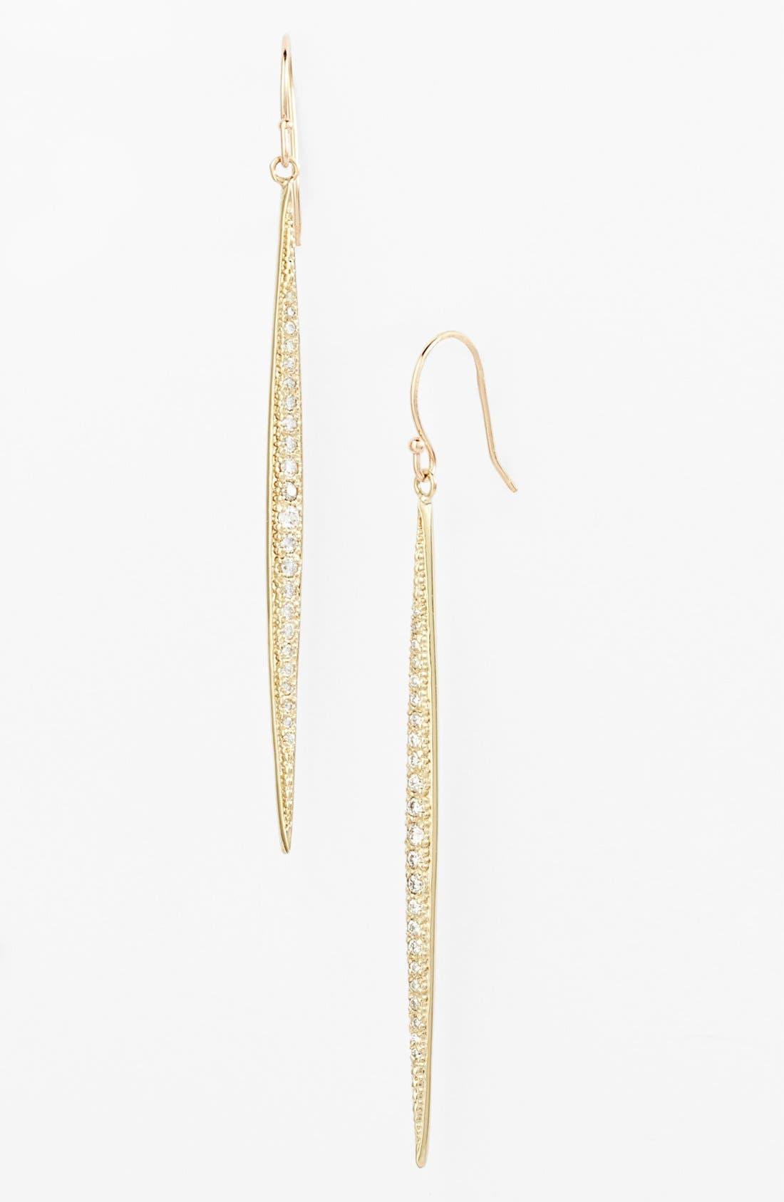 Main Image - Mizuki 'Icicles' Pavé Diamond Linear Earrings