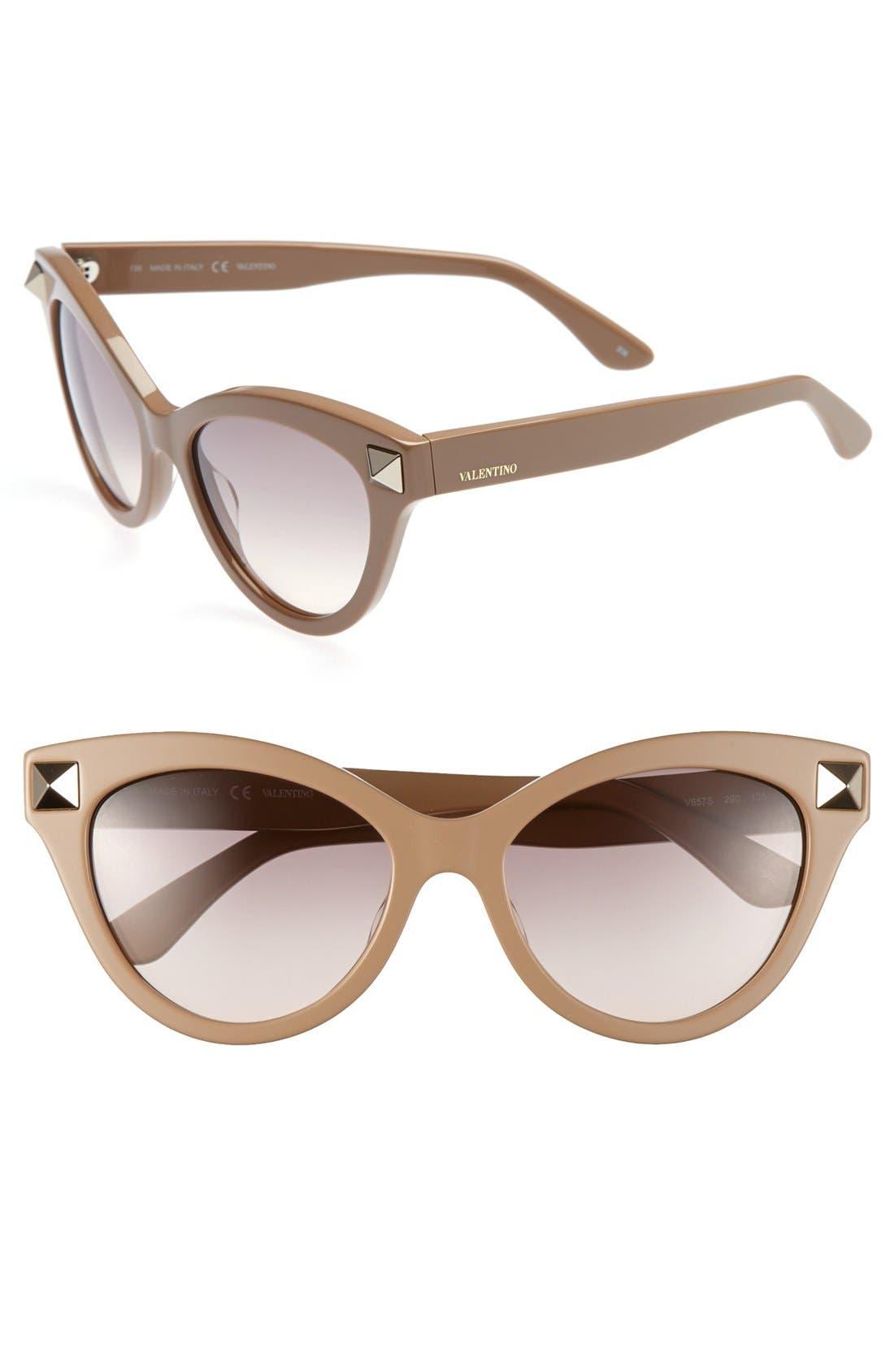 'Rockstud' 53mm Retro Sunglasses,                         Main,                         color, Nude