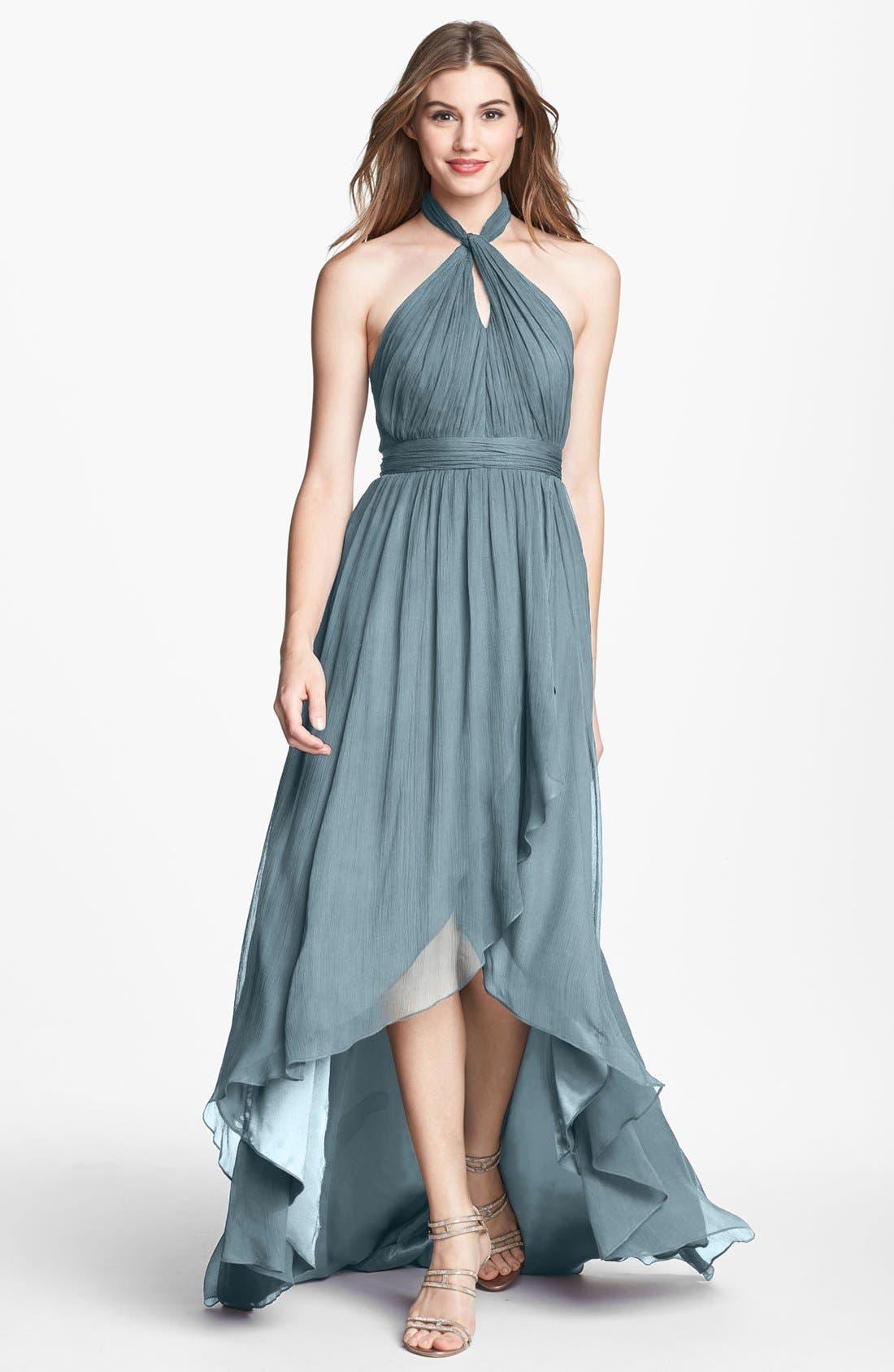 Main Image - Jenny Yoo 'Olivia' Crinkled Chiffon High/Low Halter Dress (Online Only)