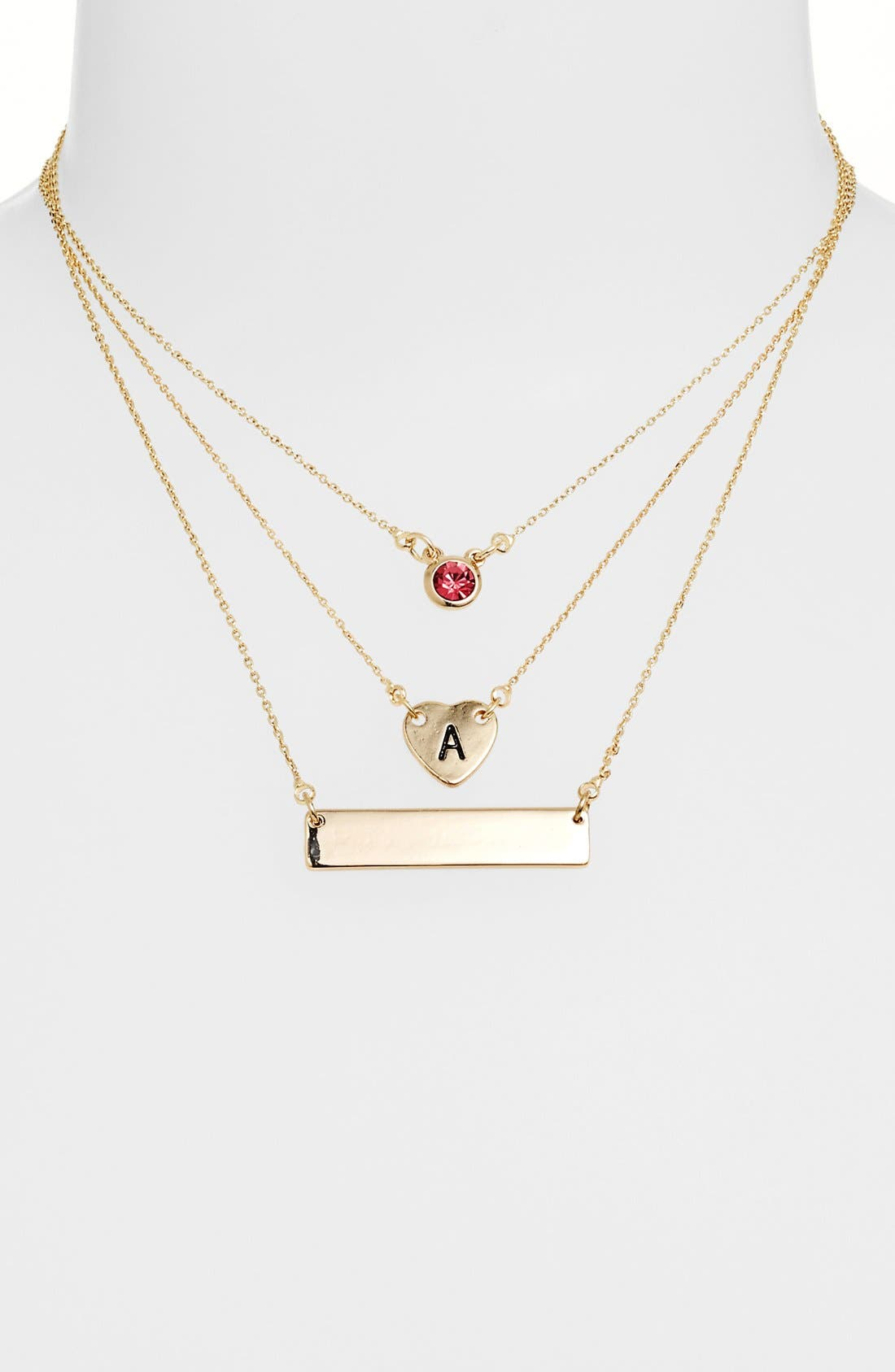 Alternate Image 2  - Stephan & Co. Stone Stud Charm Necklace (Juniors) (Online Only)