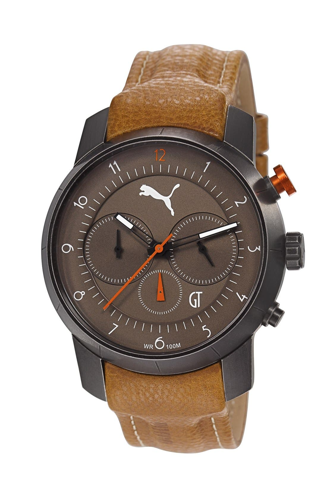 Alternate Image 1 Selected - PUMA 'Essence' Chronograph Leather Strap Watch, 40mm