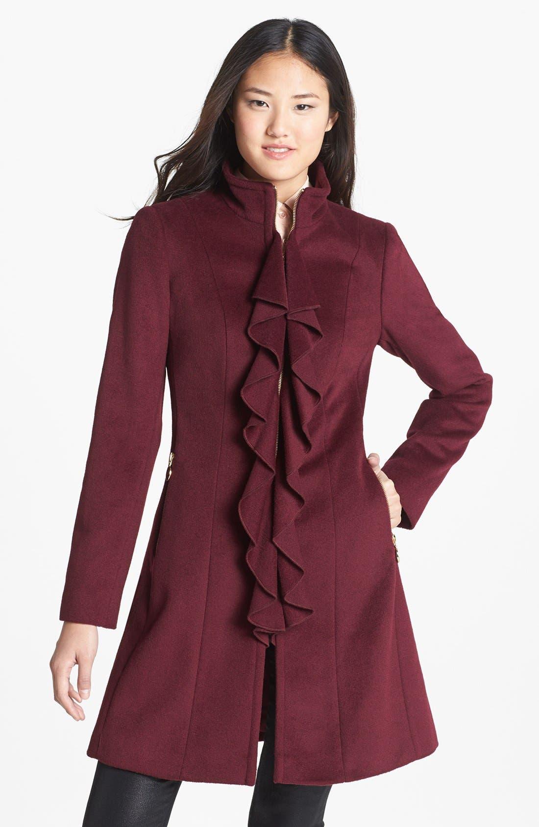 Alternate Image 1 Selected - T Tahari 'Kendra' Ruffle Front Walking Coat