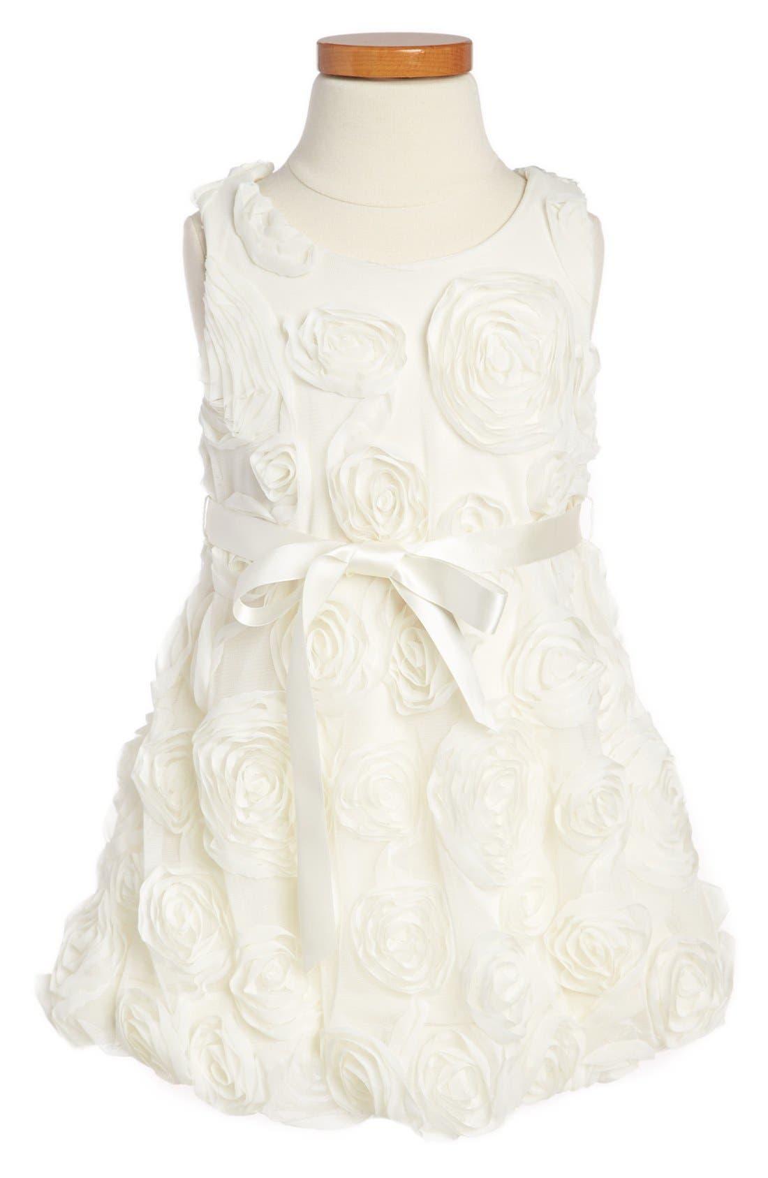 Alternate Image 2  - Iris & Ivy Rosette Dress & Faux Fur Bolero (Toddler Girls)