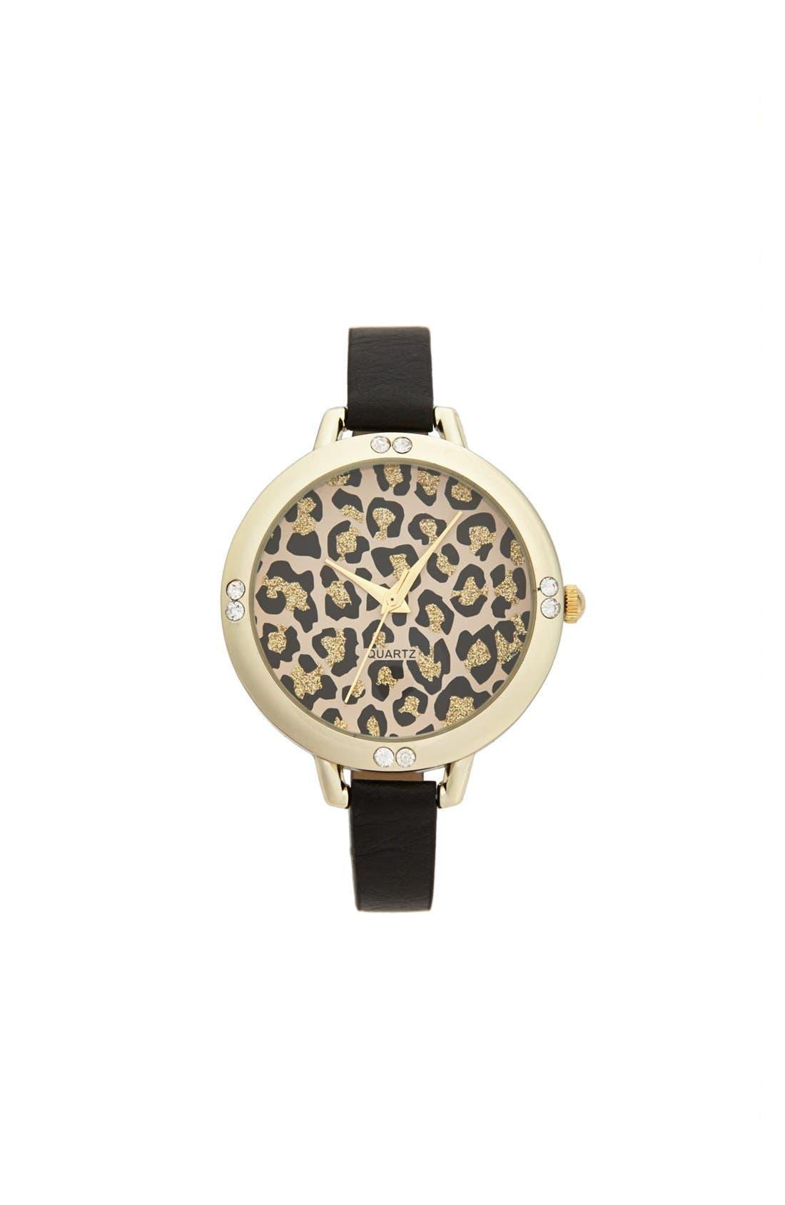 Alternate Image 1 Selected - Titanium Leopard Face Skinny Watch, 40mm (Juniors)