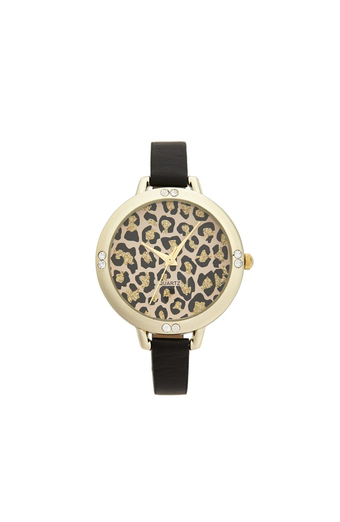 Main Image - Titanium Leopard Face Skinny Watch, 40mm (Juniors)