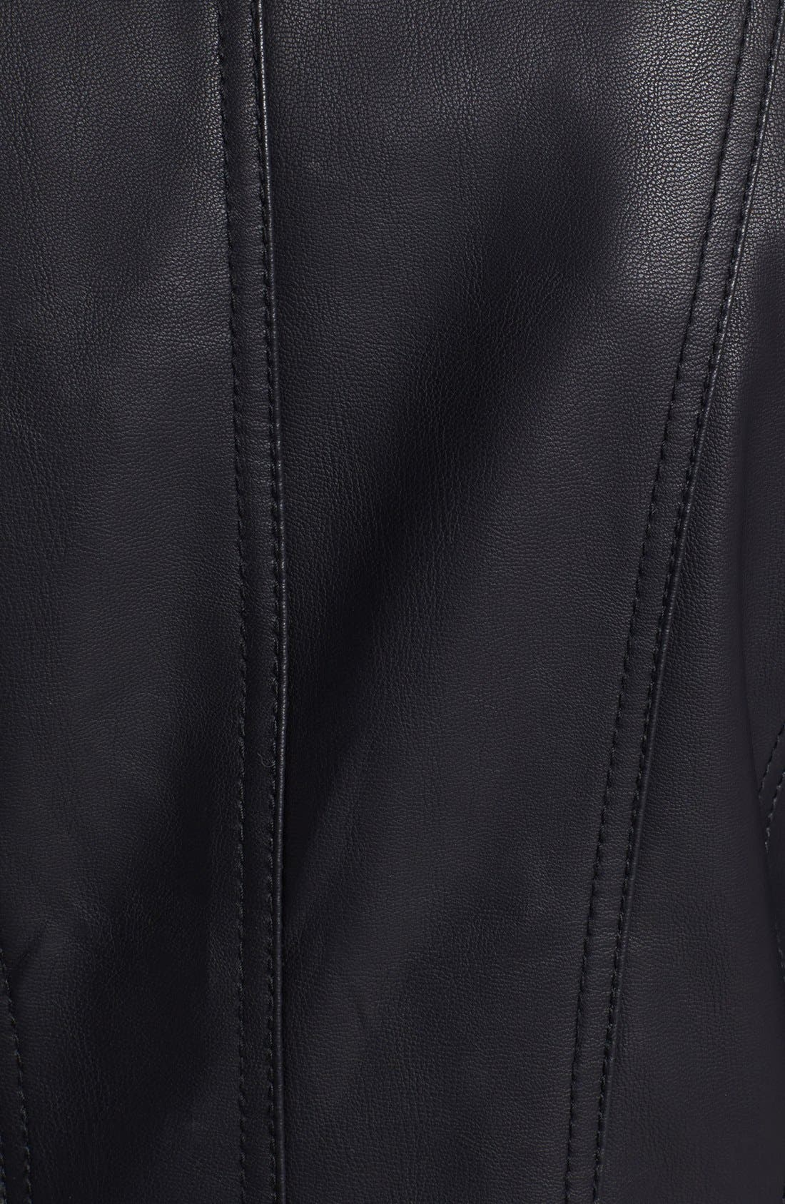 Alternate Image 3  - GUESS Faux Leather & Wool Blend Moto Jacket