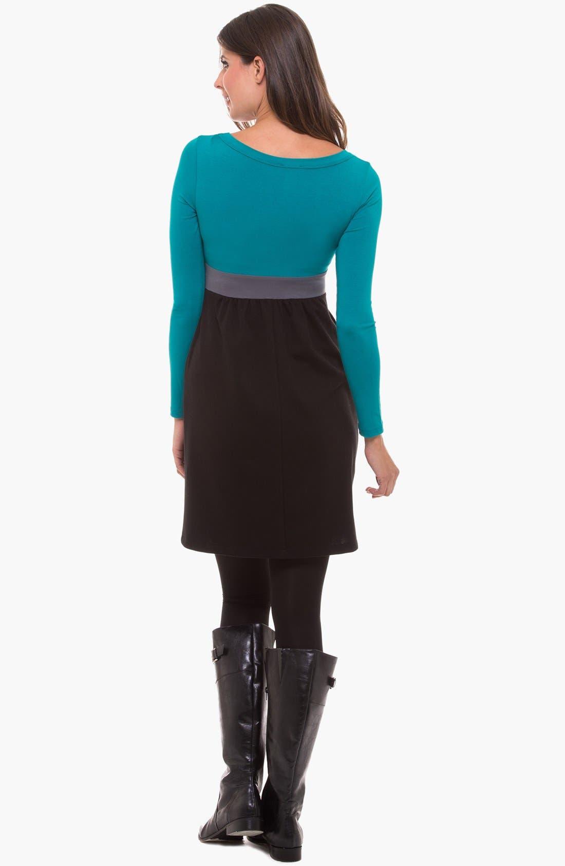 Alternate Image 2  - Olian Colorblock Maternity Dress