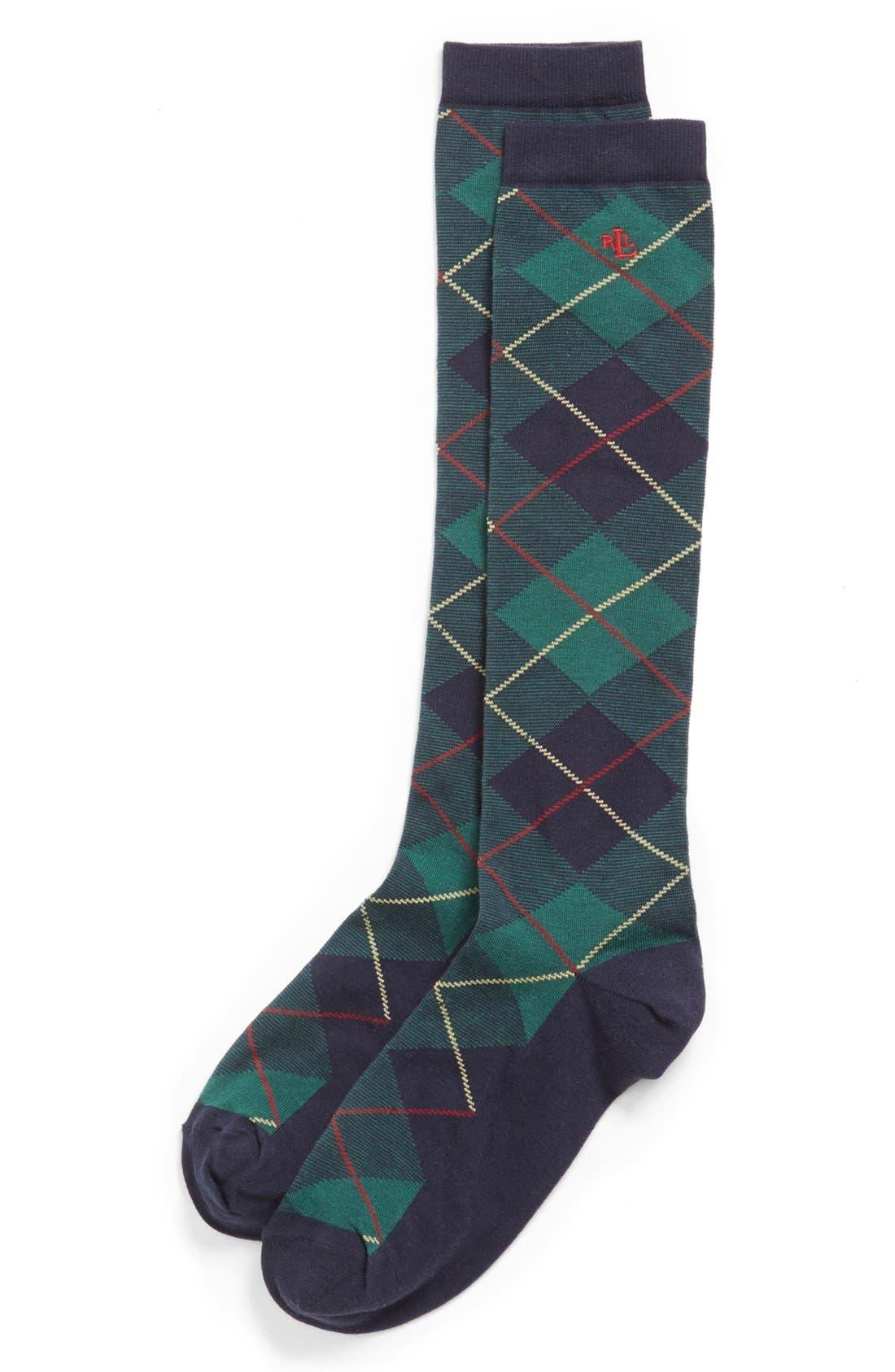 Alternate Image 2  - Ralph Lauren Argyle Plaid Knee High Socks