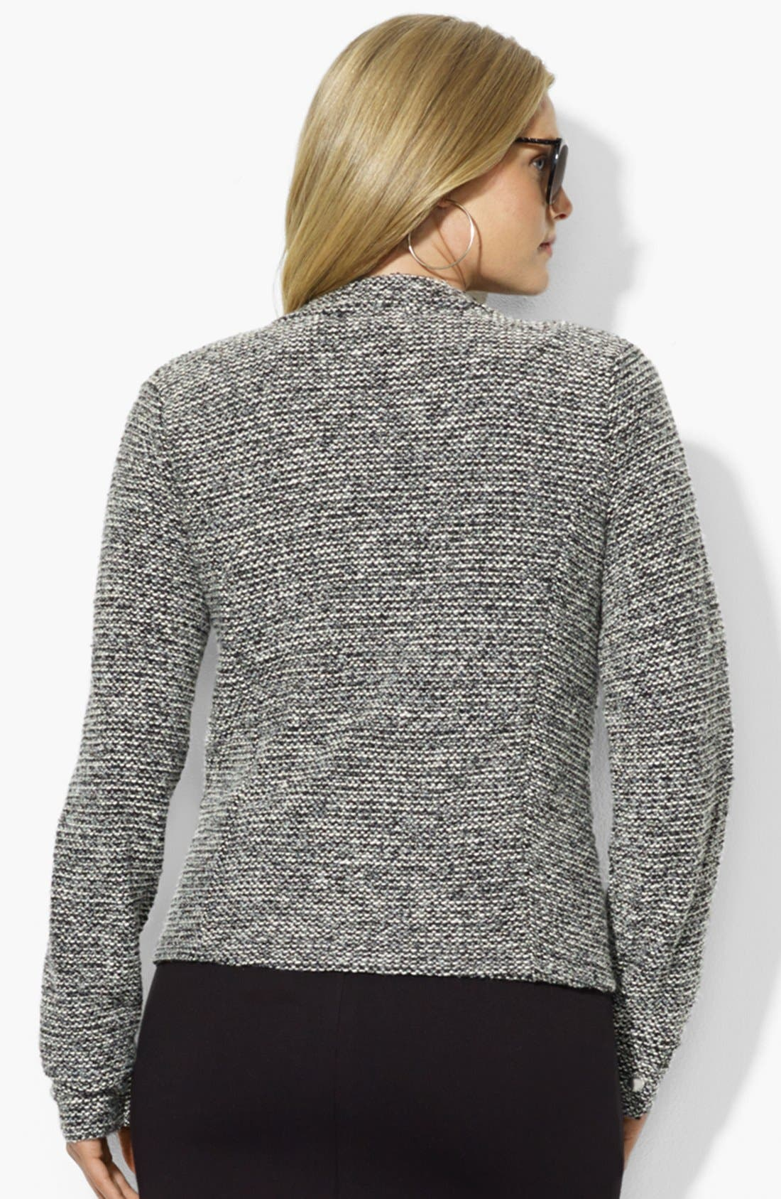 Alternate Image 2  - Lauren Ralph Lauren Zip Front Cardigan (Plus Size)