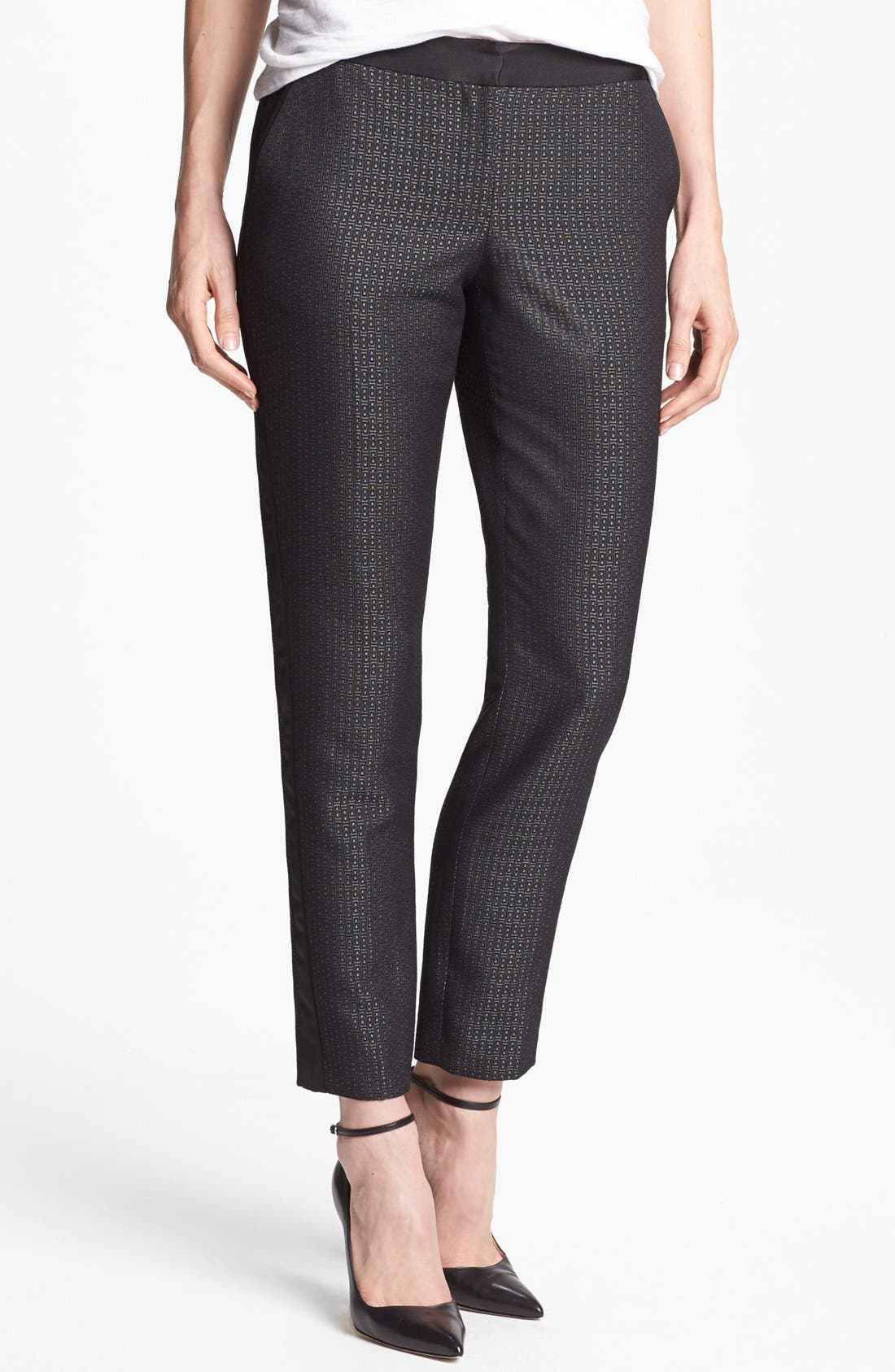 Alternate Image 1 Selected - Halogen® 'Quinn' Tuxedo Jacquard Skinny Ankle Pants (Petite)