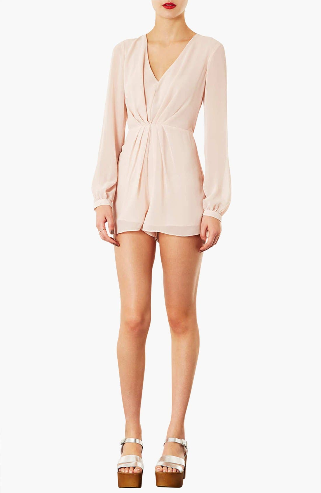 Alternate Image 1 Selected - Topshop Pleat Front Chiffon Romper