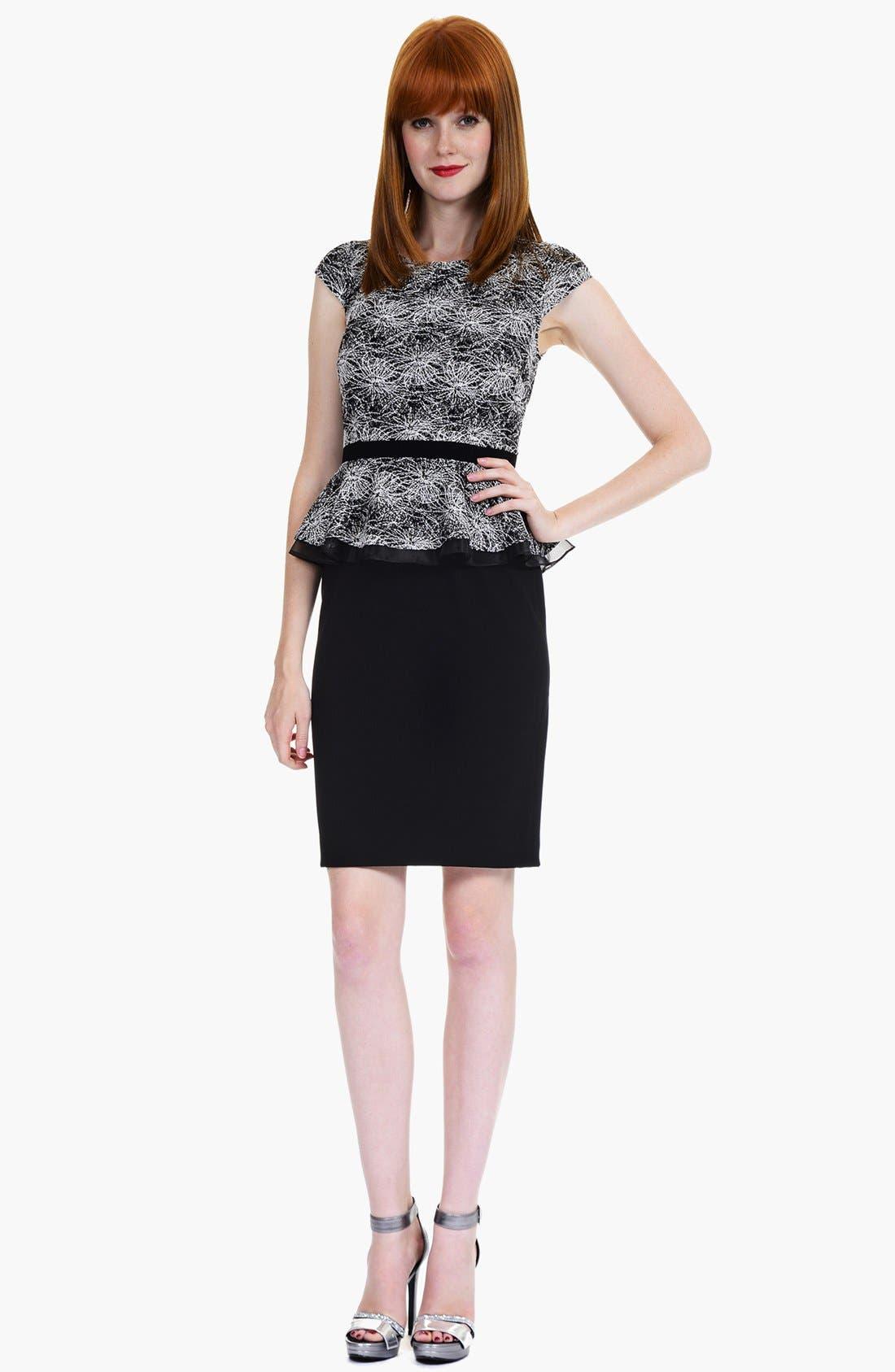 Alternate Image 1 Selected - Kay Unger Print Lace Peplum Sheath Dress