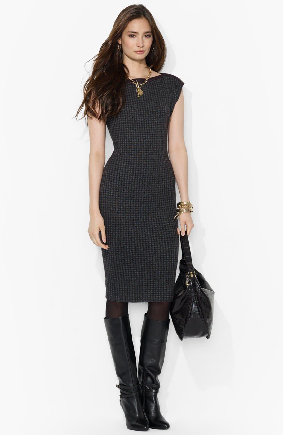 Main Image - Lauren Ralph Lauren Houndstooth Boatneck Dress